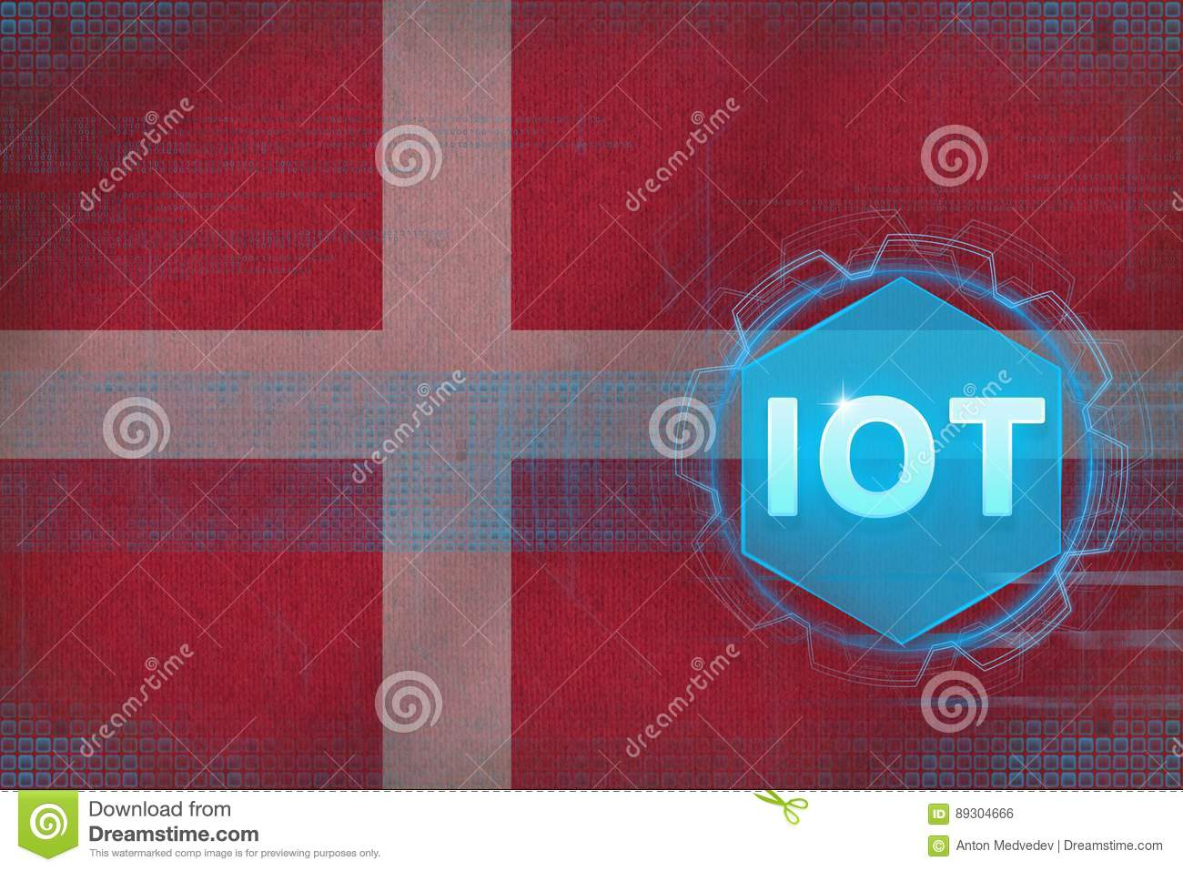 Denmark IOT (Internet of things). Internet of Things modern concept.