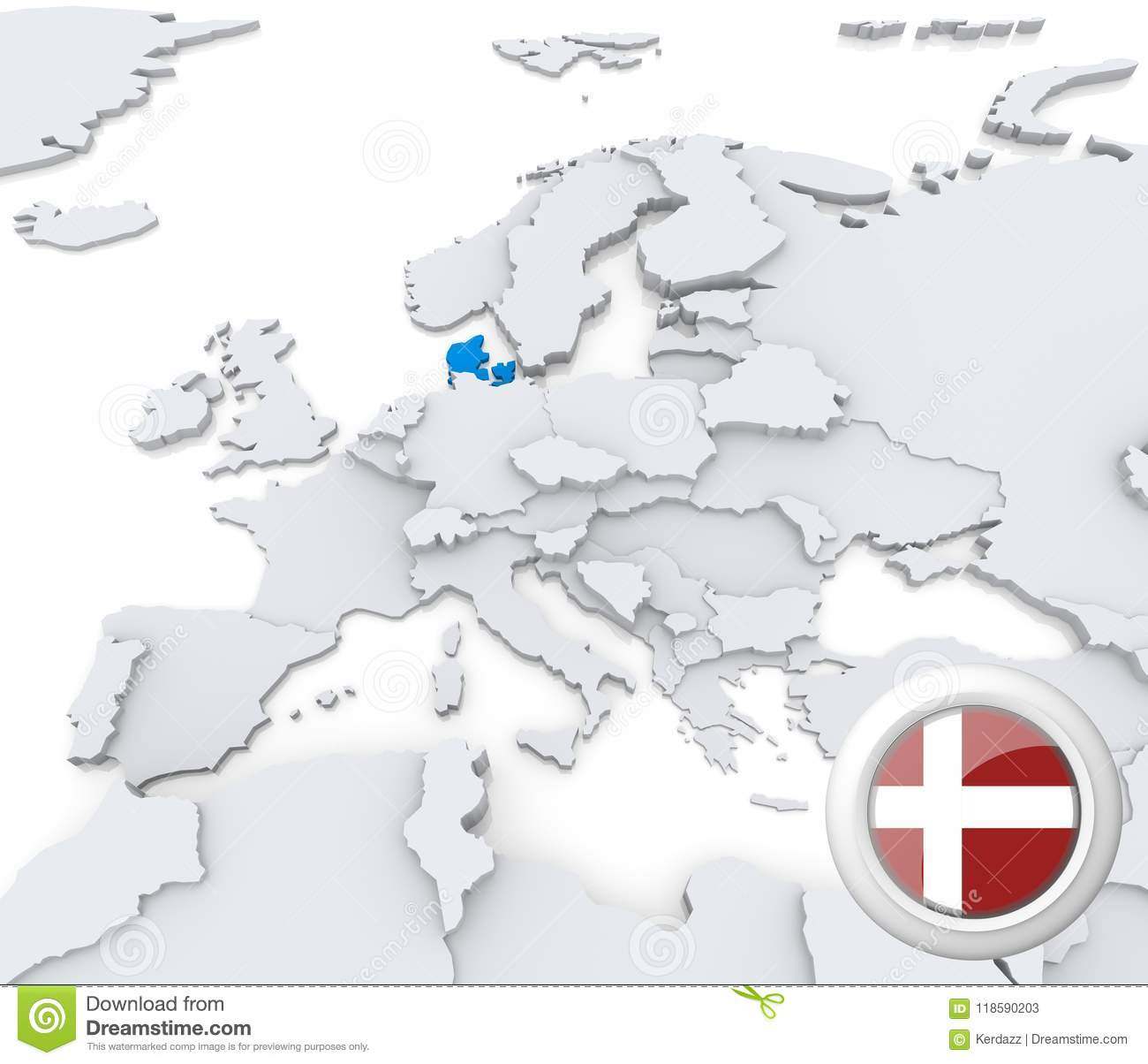 Denmark On Map Of Europe Stock Illustration Illustration Of Icon
