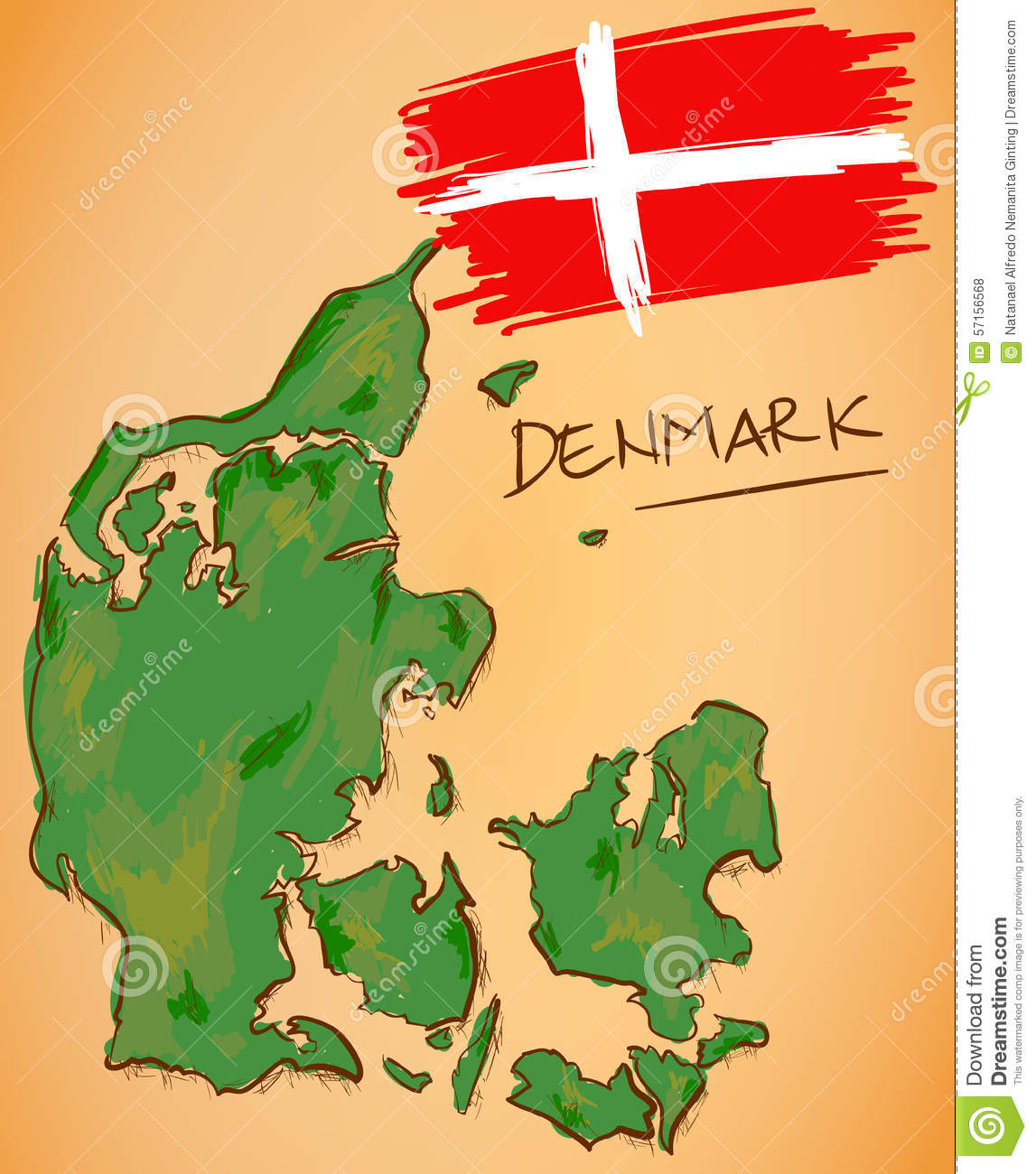 Denmark Map And National Flag Vector Stock Vector Illustration of