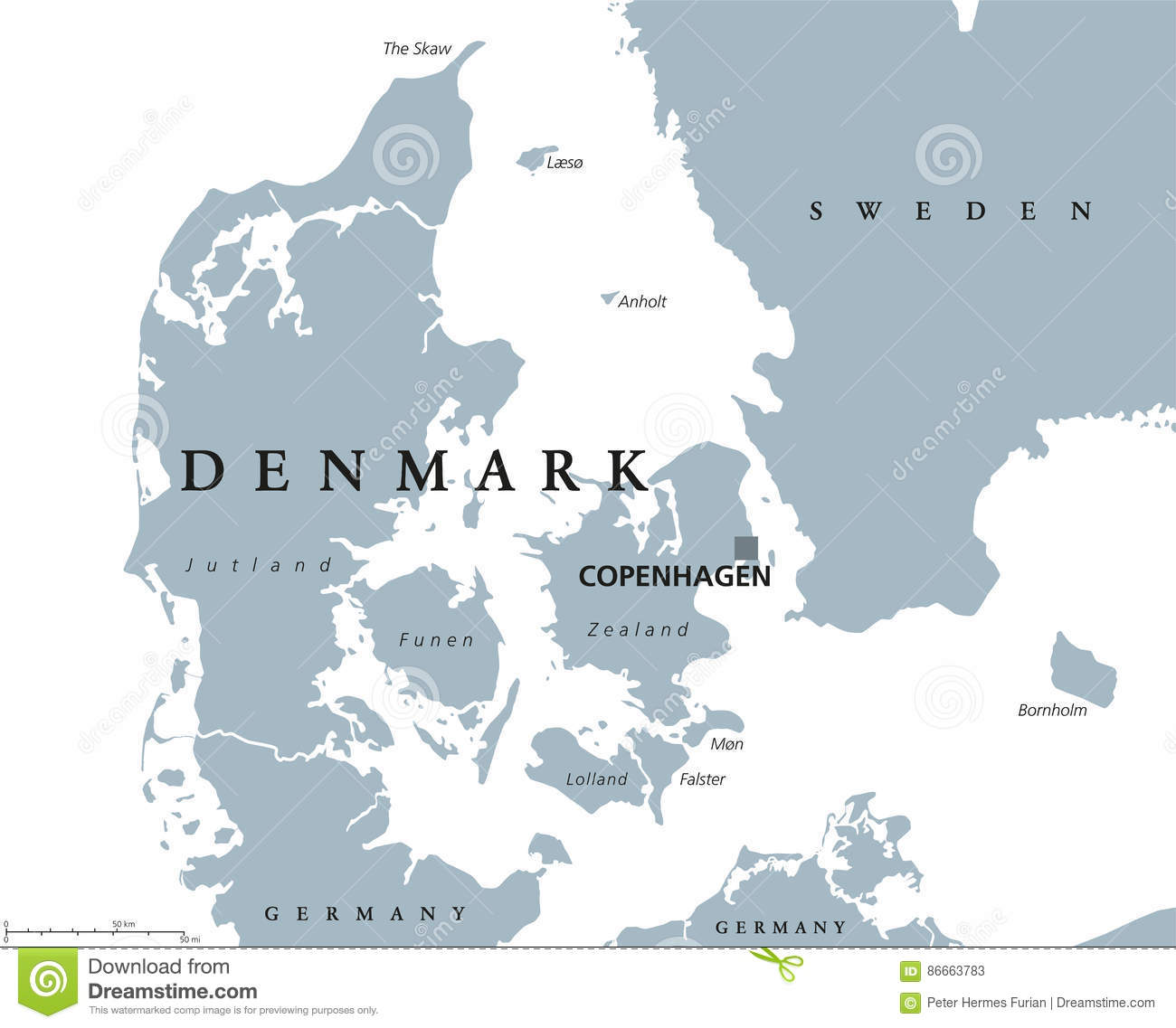 Denmark Political Map Stock Vector Illustration Of Bornholm 86663783