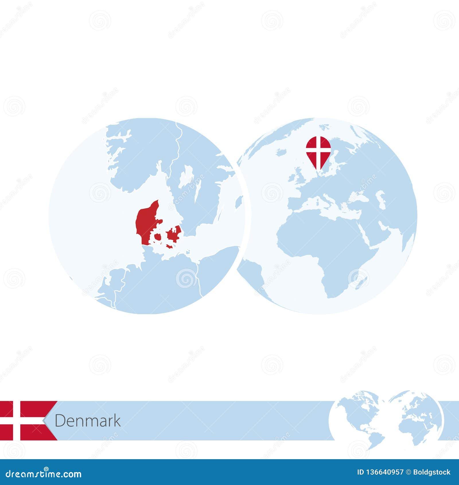 World Map Of Denmark.Denmark On World Globe With Flag And Regional Map Of Denmark Stock