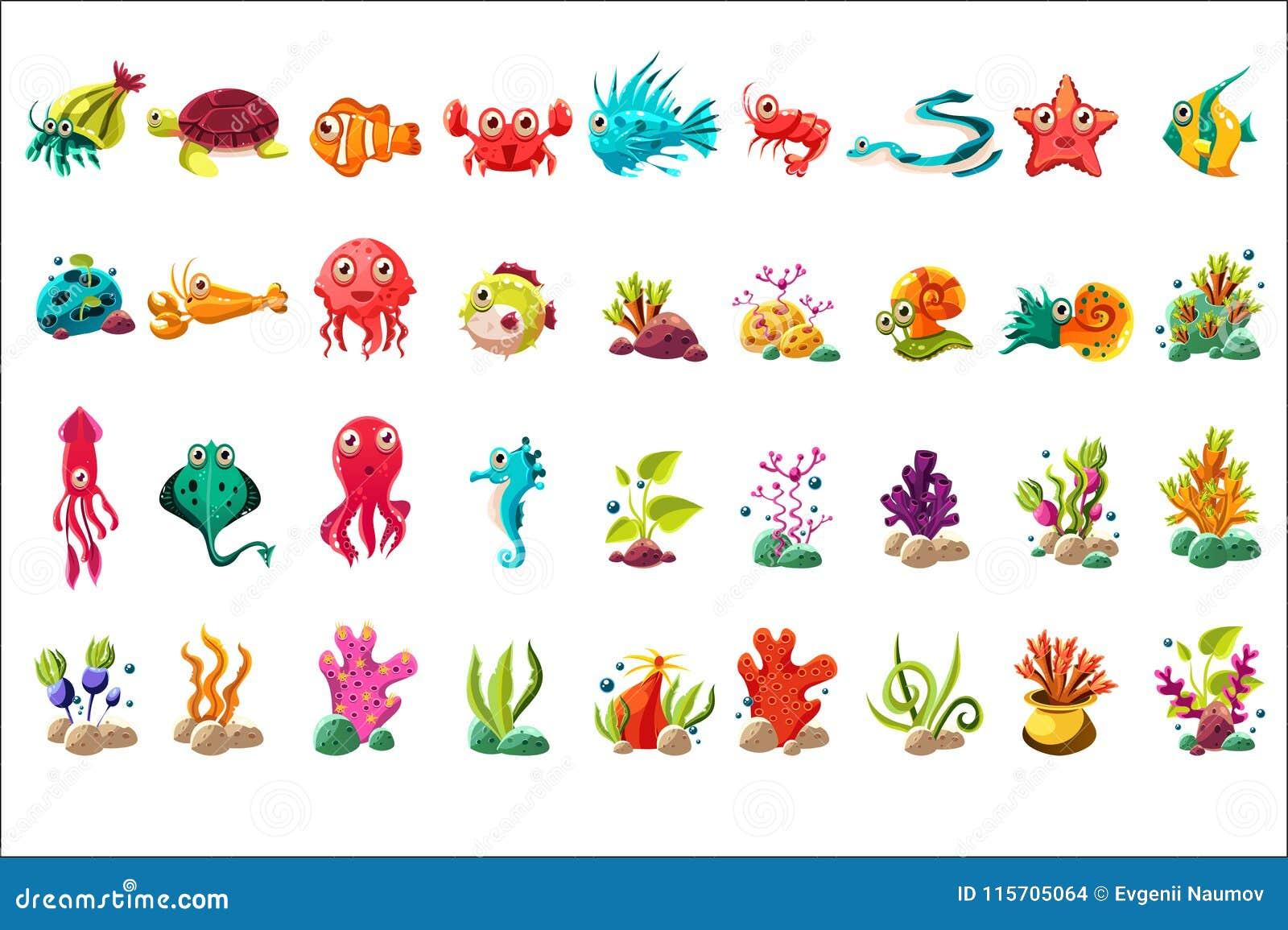 Dennej istoty duży set, wektorowe ilustracje na białym tle, kolorowe kreskówka oceanu zwierząt, rośliien i ryba,