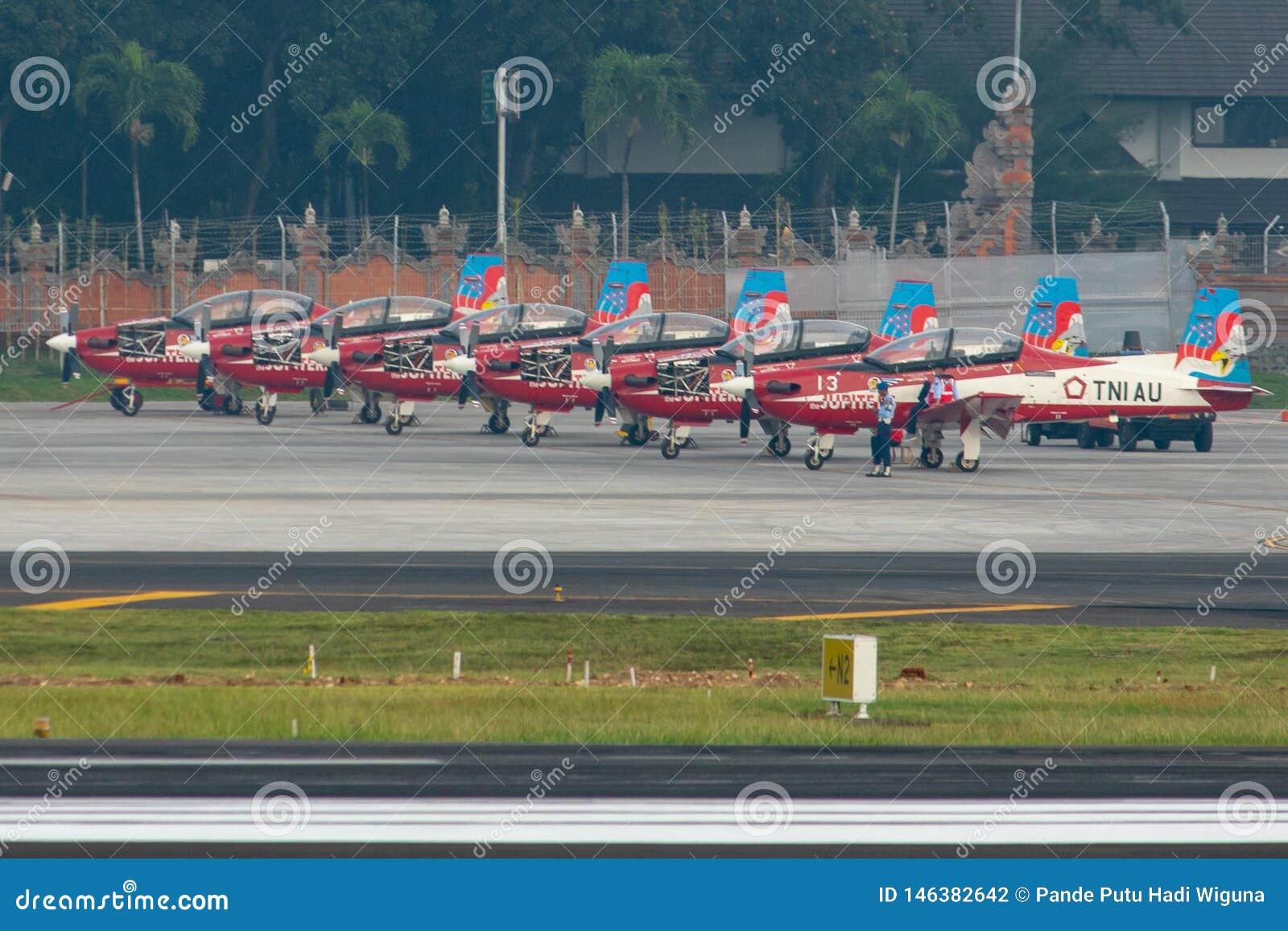 DENPASAR/BALI- 16-ОЕ АПРЕЛЯ 2019: 7 воздушных судн команды Юпитера принадлежа индонезийской военновоздушной силе паркуются на рис