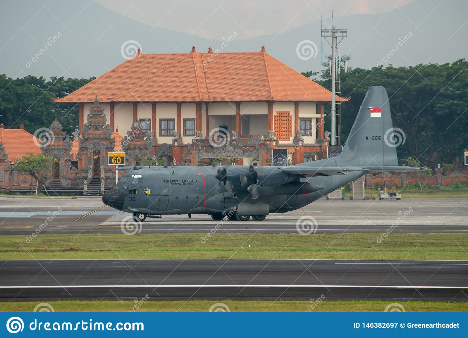 DENPASAR/BALI-APRIL 16 2019:Indonesian air force military aircraft are preparing to take off