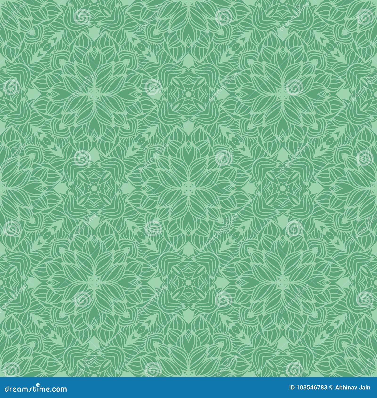 DENSE AQUA FLOWER PATTERN BACKGROUND IN GREEN TONE