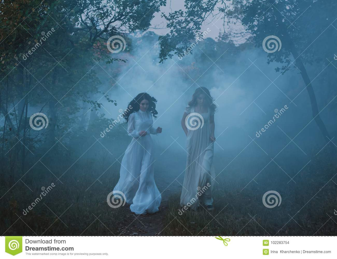 Frightened girls in vintage dresses
