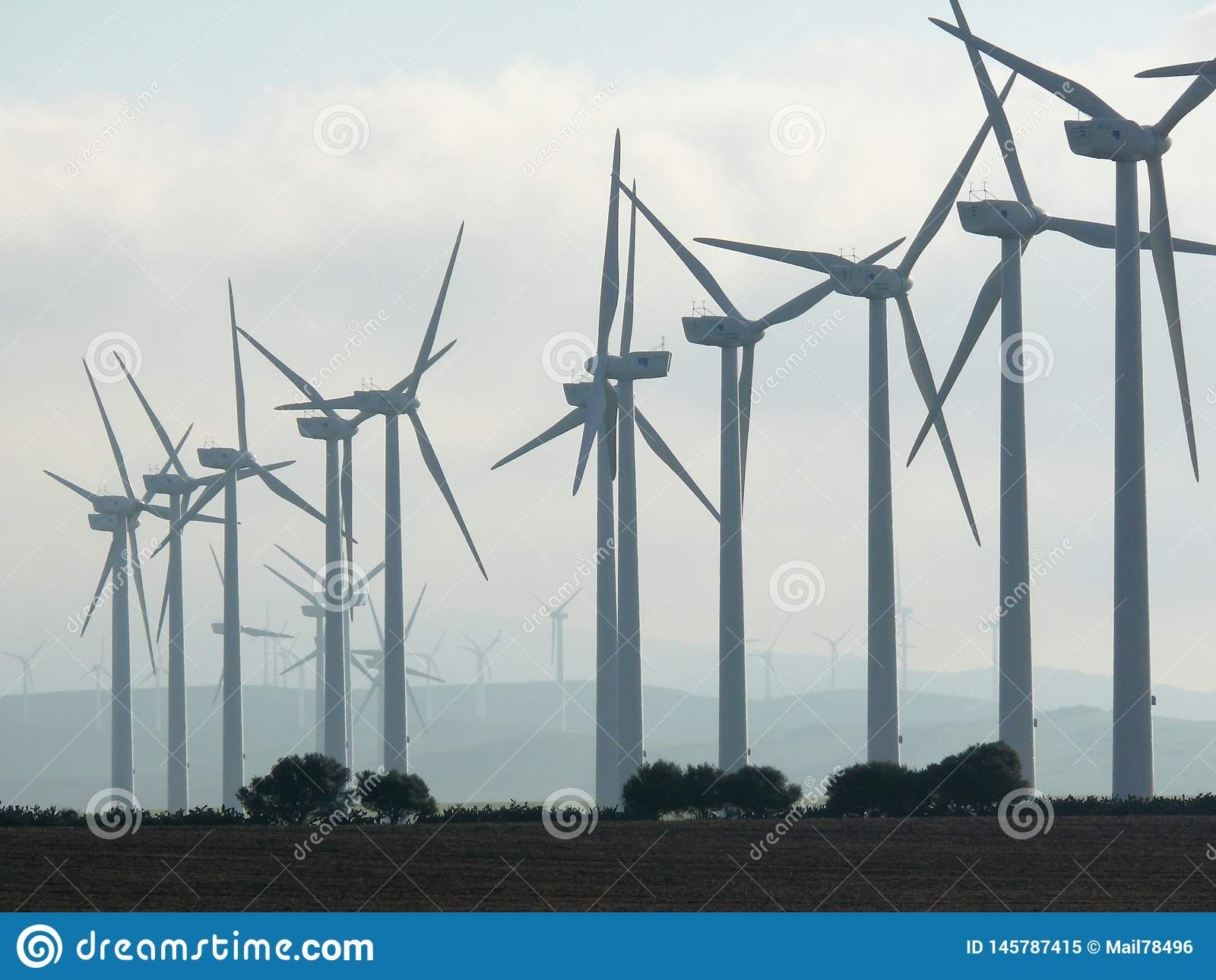 Jerez de la Frontera, Spain.  01/04/2007. Wind farm with high bl