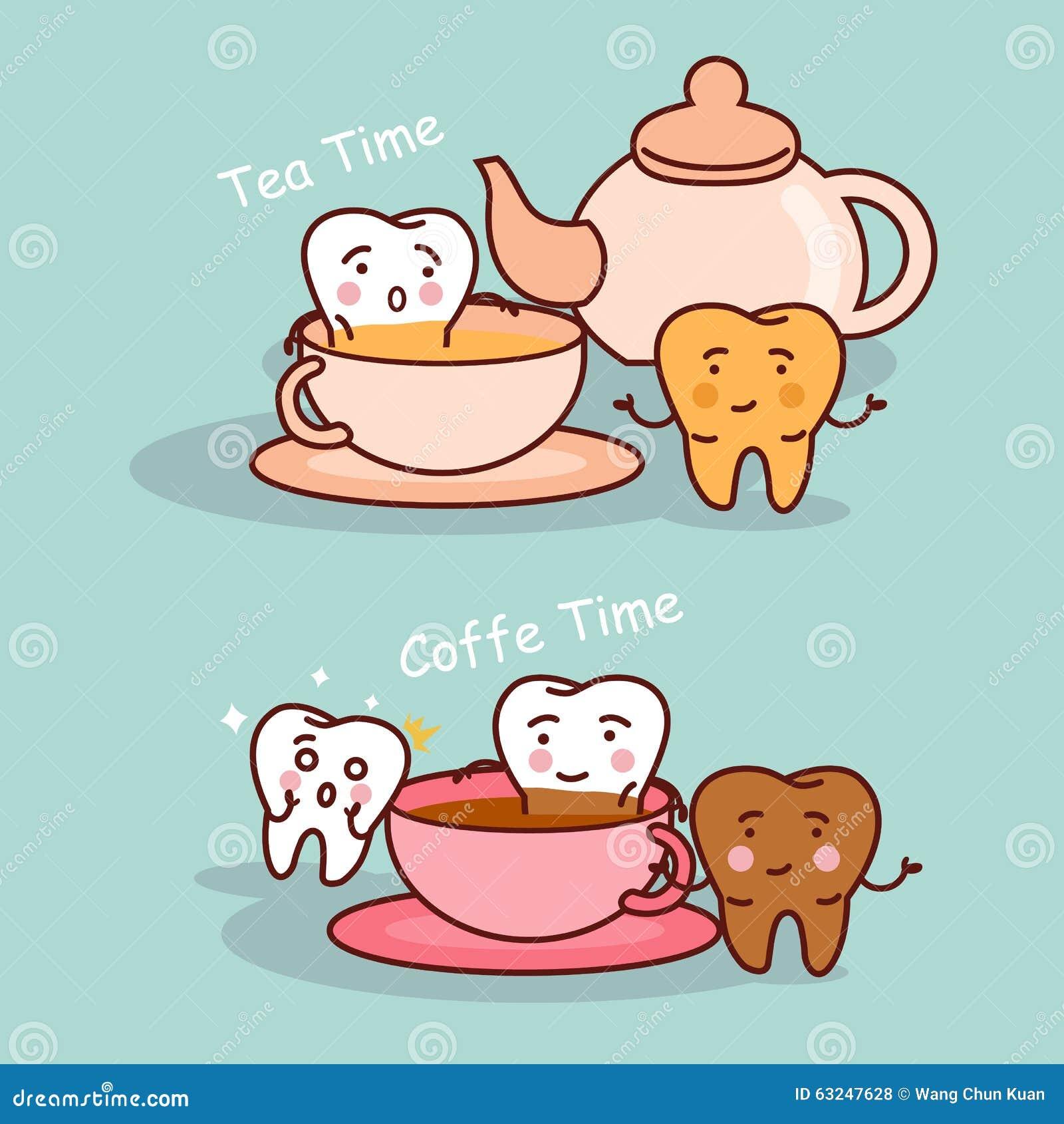 Dent avec du café et le thé