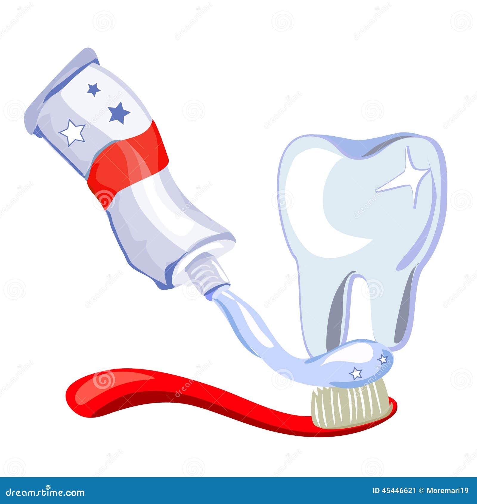 Dent brosse dents p te dentifrice sur le fond blanc - Brosse a dent bleu blanc rouge ...