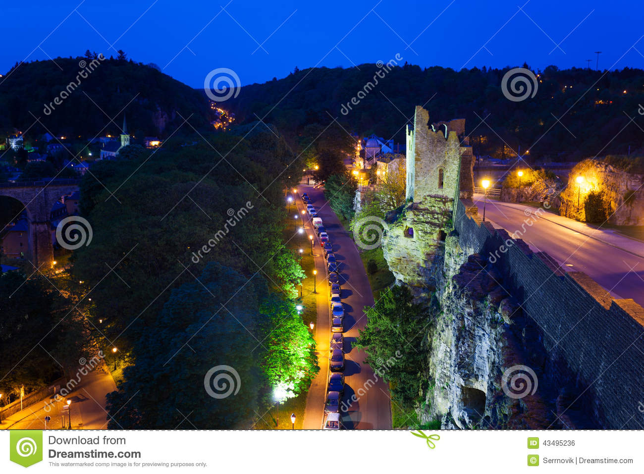 dent creuse and traffic jam at night luxembourg stock photo image 43495236. Black Bedroom Furniture Sets. Home Design Ideas
