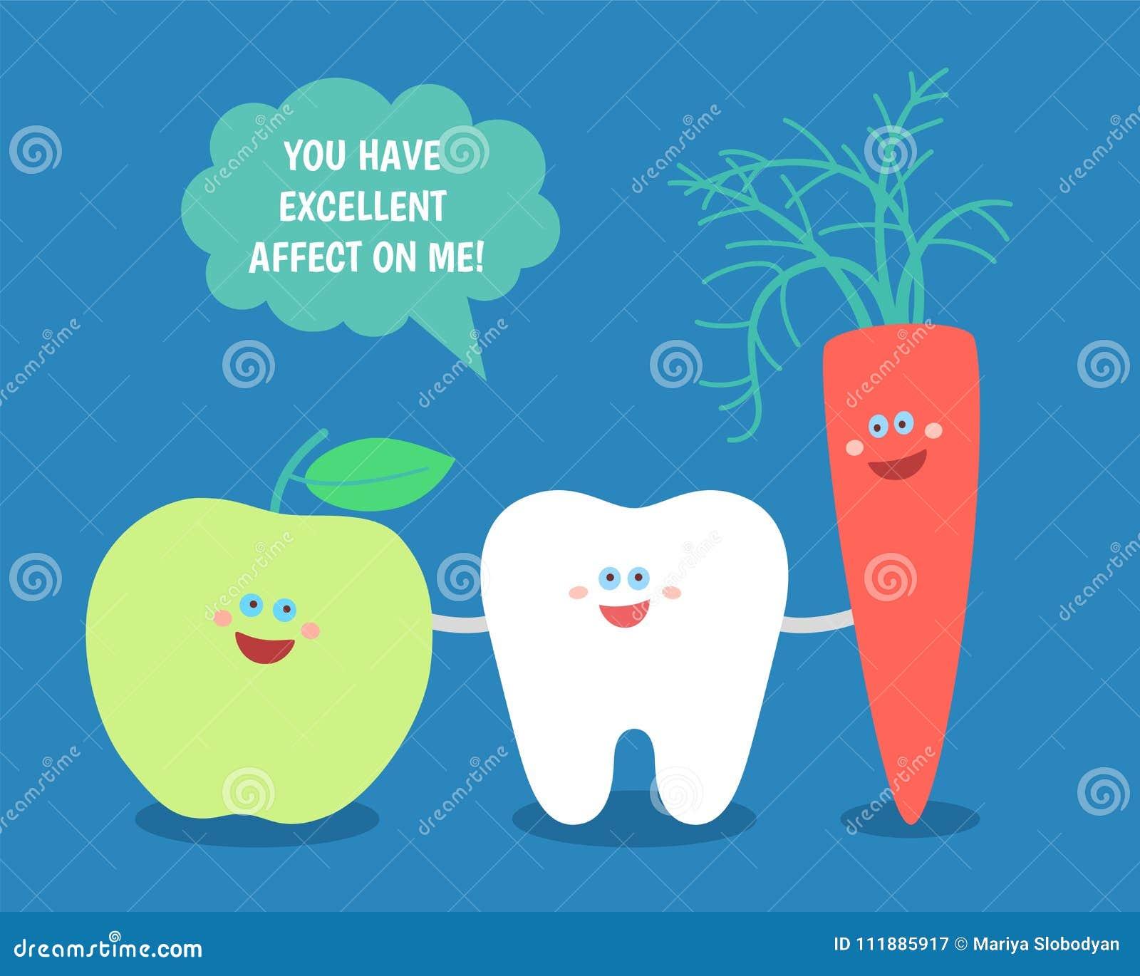 Dent de bande dessinée avec la pomme et la carotte vertes Bonne nourriture pour vos dents