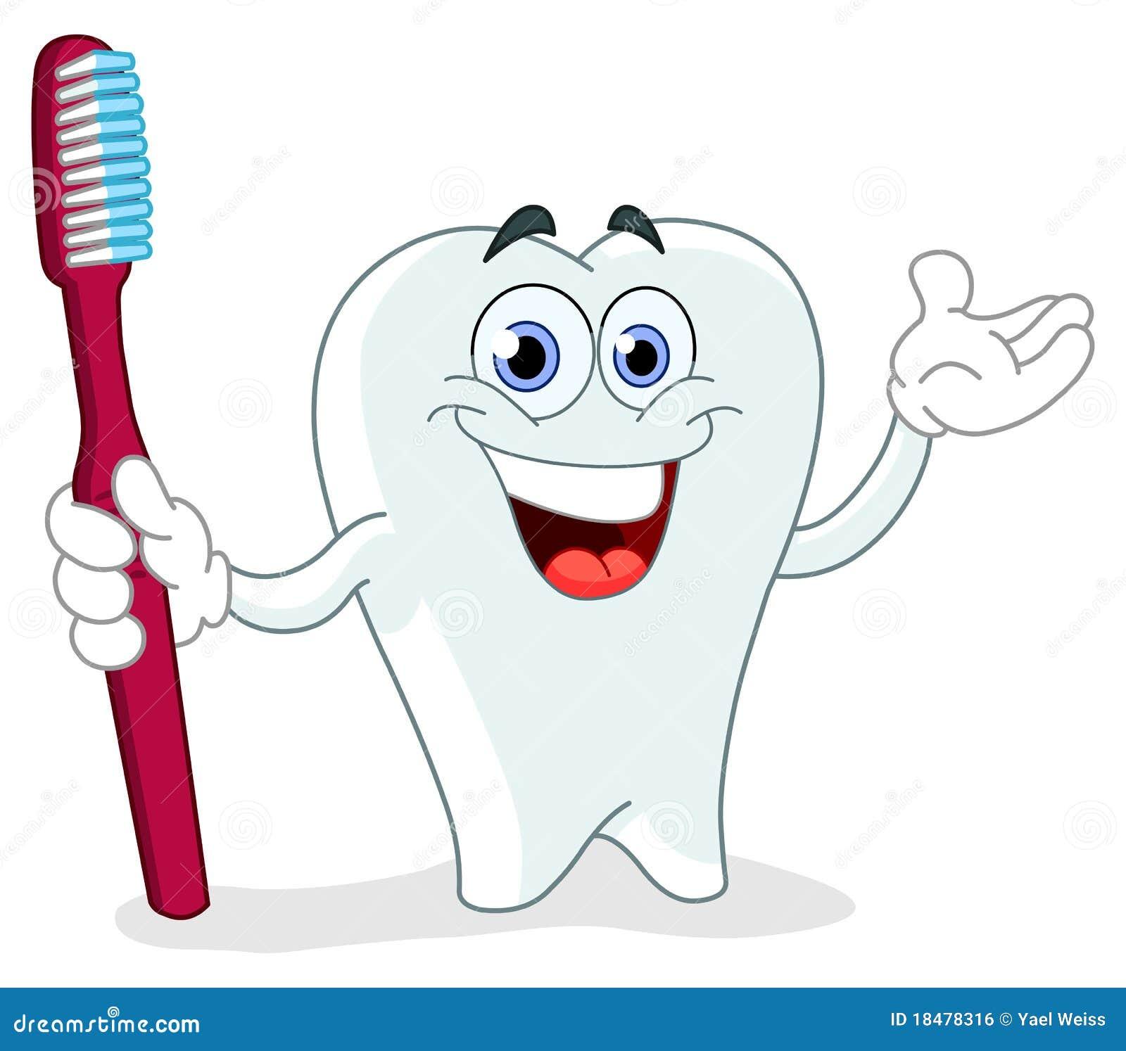 Dent de dessin anim avec la brosse dents illustration - Dessin de dent ...