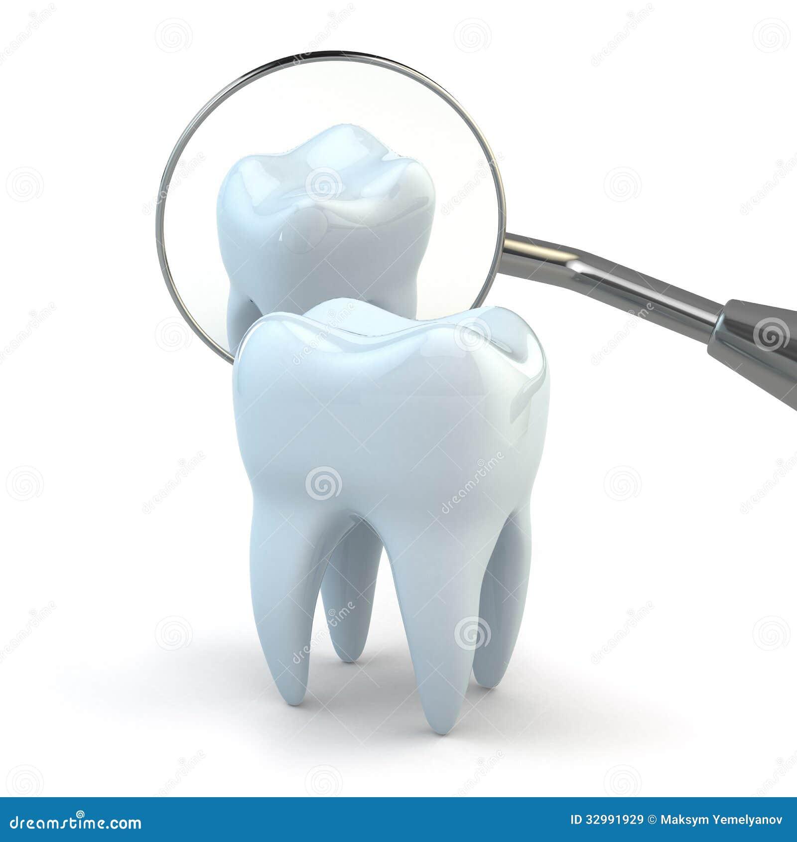 Dent et équipement dentaire sur le fond blanc.