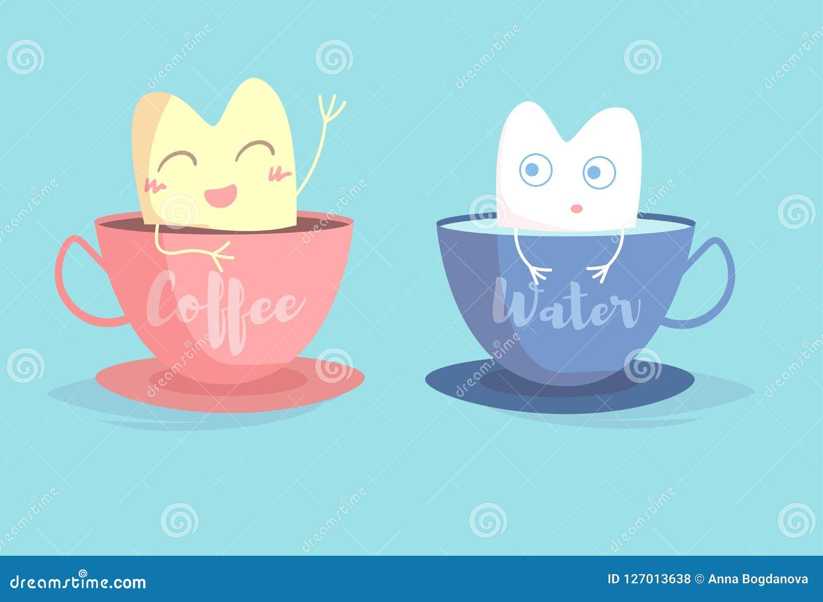Dent jaune dans la tasse de café, dent blanche dans le vecteur de verre d eau cartoon