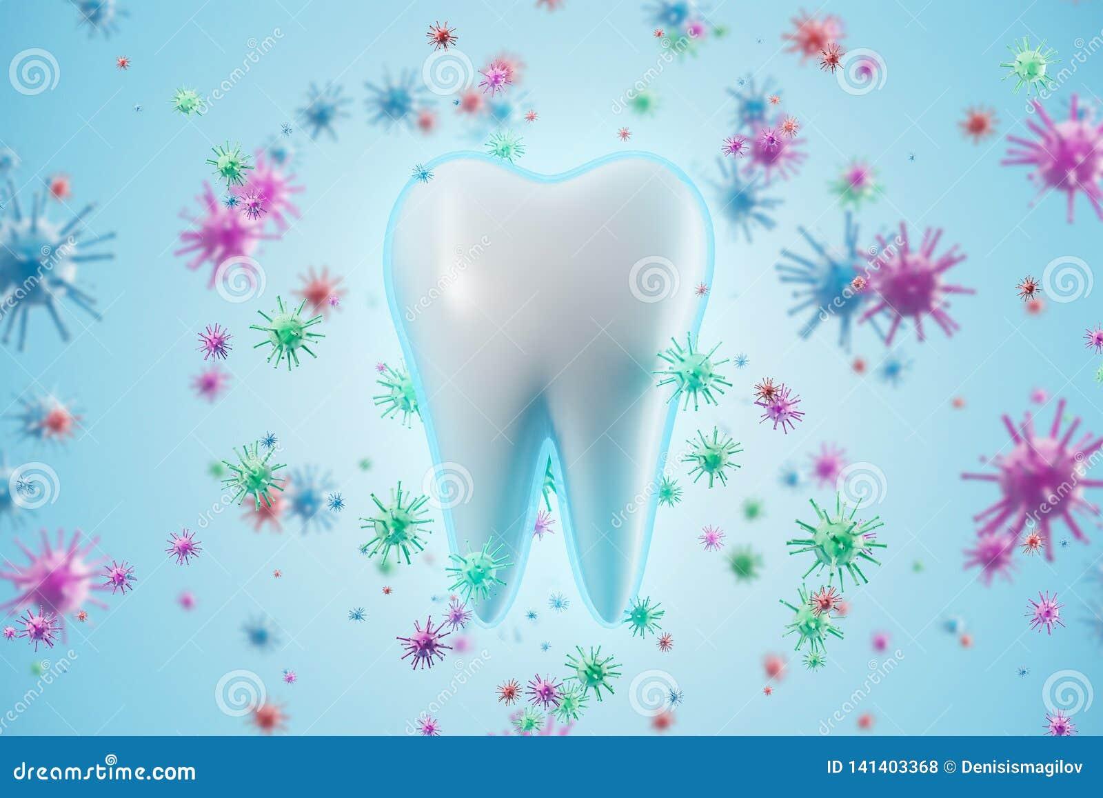 Dent saine et fond bleu de bactéries