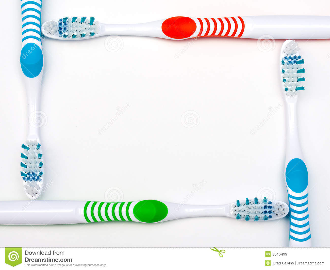 Red green and blue toothbrushes make border for dental background ...