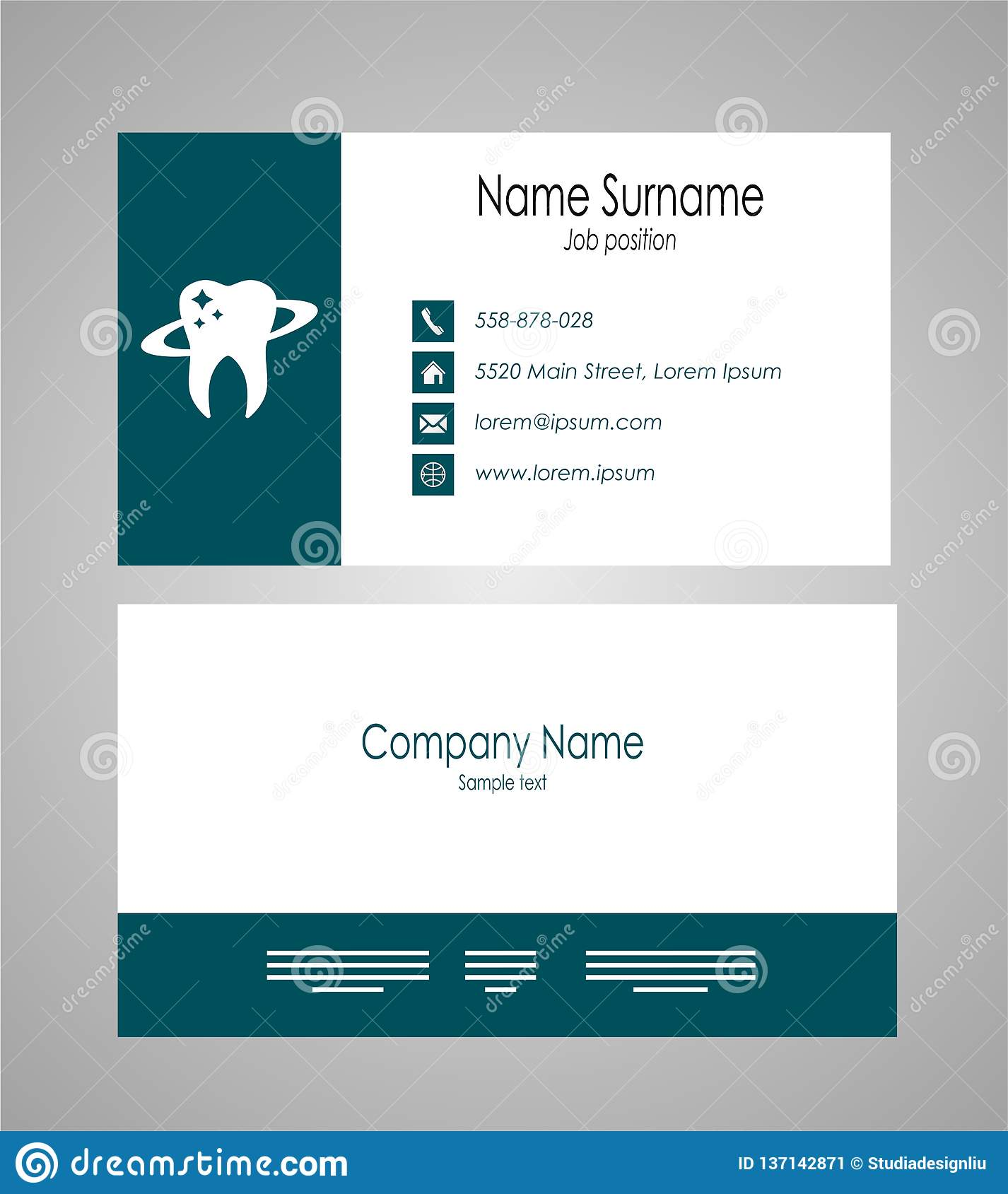 Business Card Template For Doctors | Dental Business Card Template Vector Illustration Stock Vector