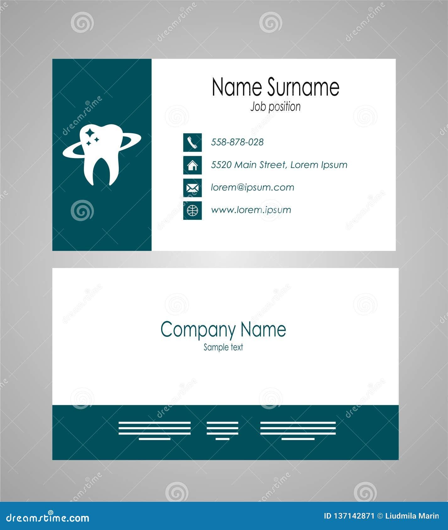 Dental Business Card Template Vector Illustration Stock