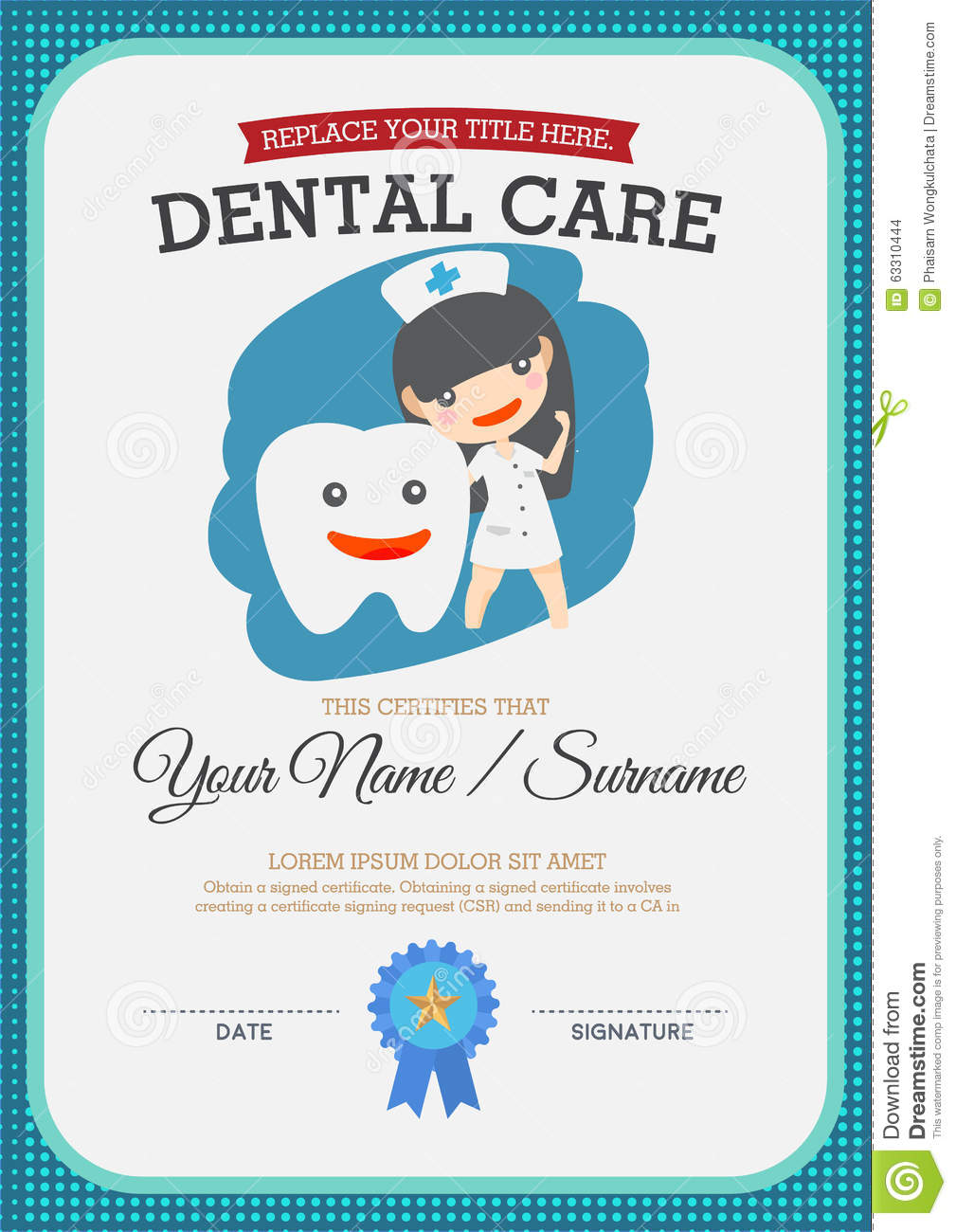 Dental care certificate stock vector illustration of for Dental gift certificate template