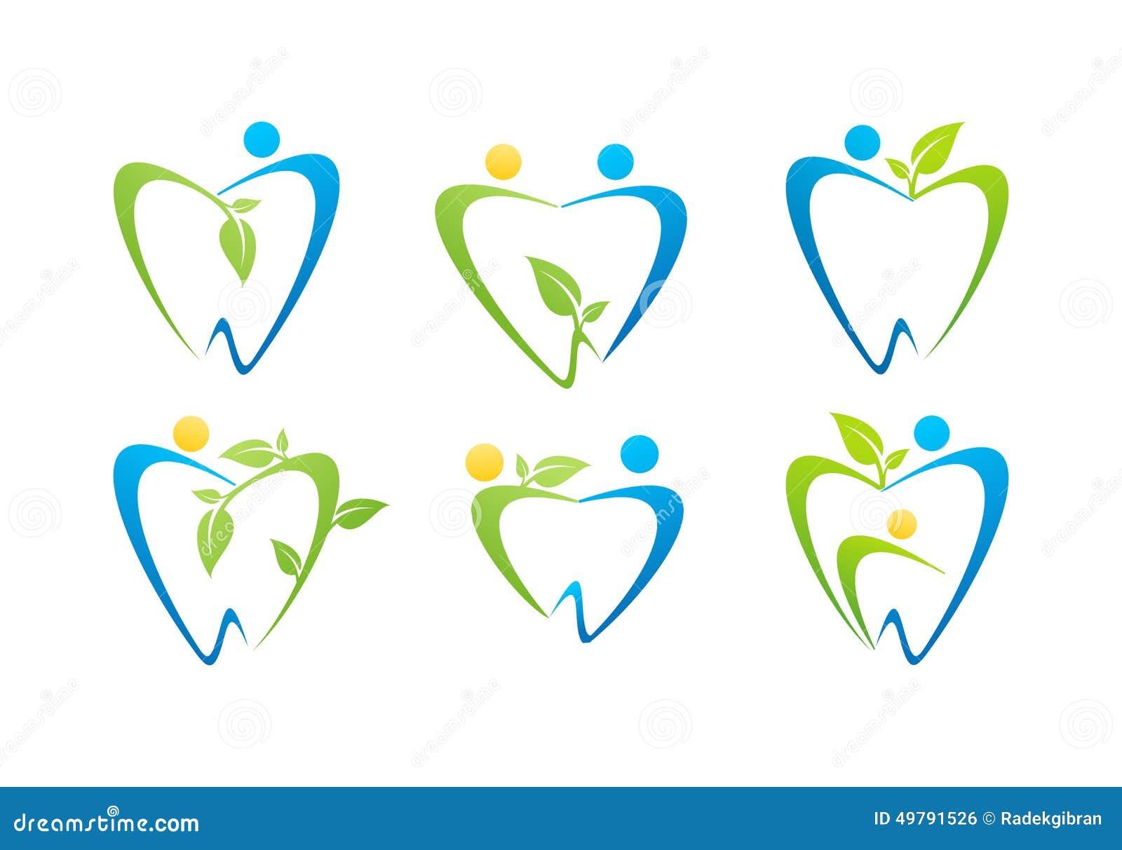 dental care logo, dentist illustration health people nature symbol set design vector
