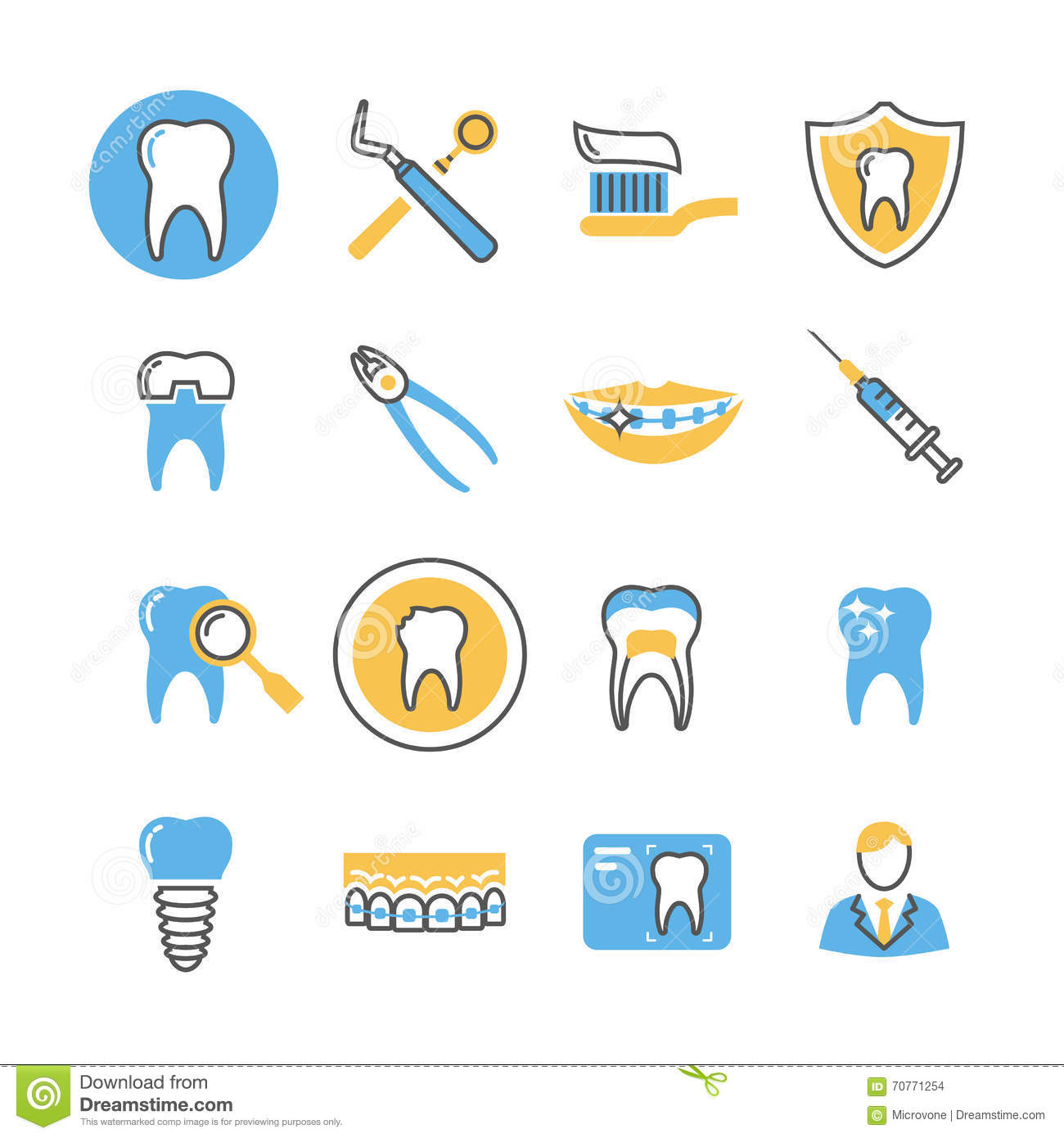 Dental Care Services Equipment And Products Linear Vector Icons With Color Elements