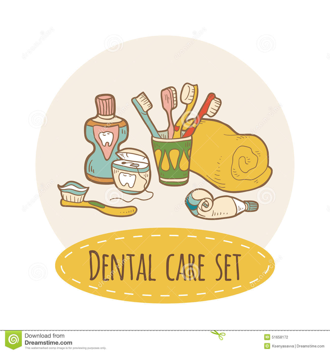 3d Bathroom Design Tool Dental Care Set Stock Vector Image 51658172