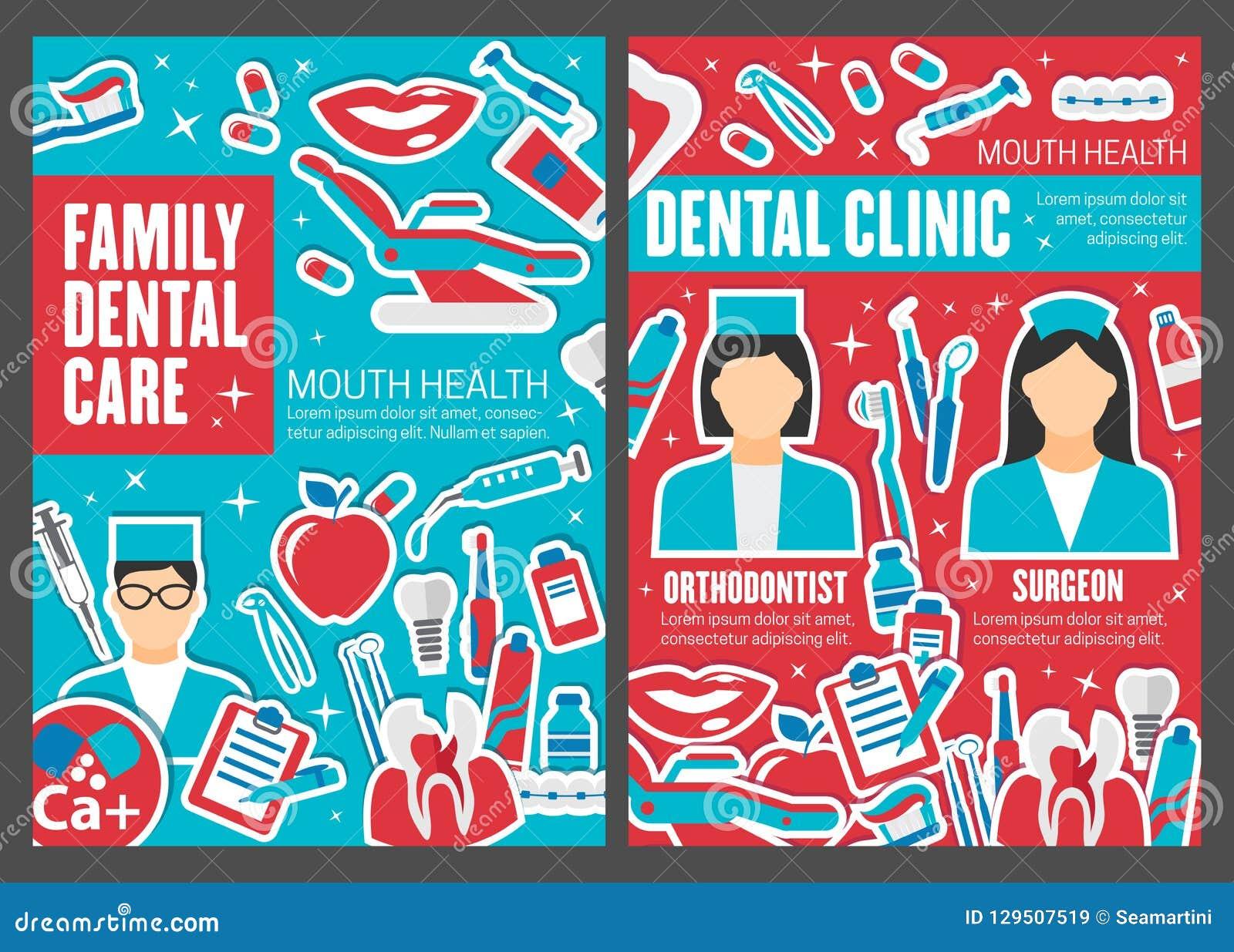 Dental Clinic Doctors, Dentistry Medicine Vector Stock