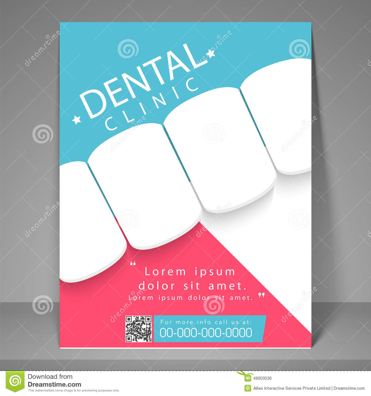 Dental Clinic Flyer Template Or Brochure Stock Illustration - Template for brochure