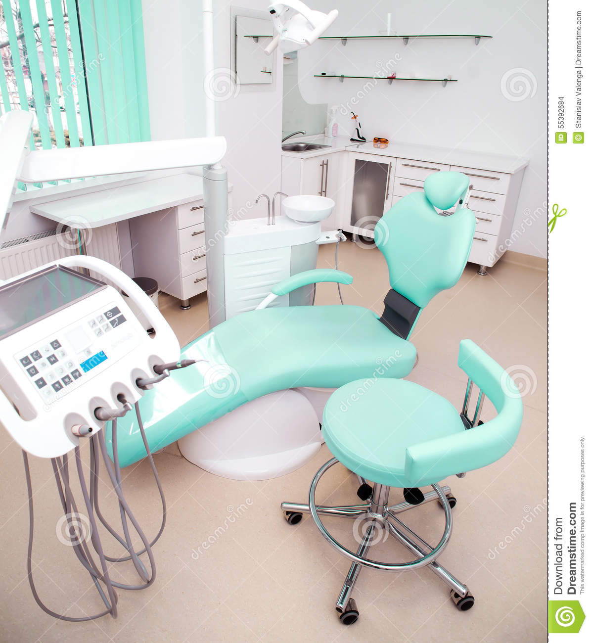dental clinic interior design with chair and tools stock photo