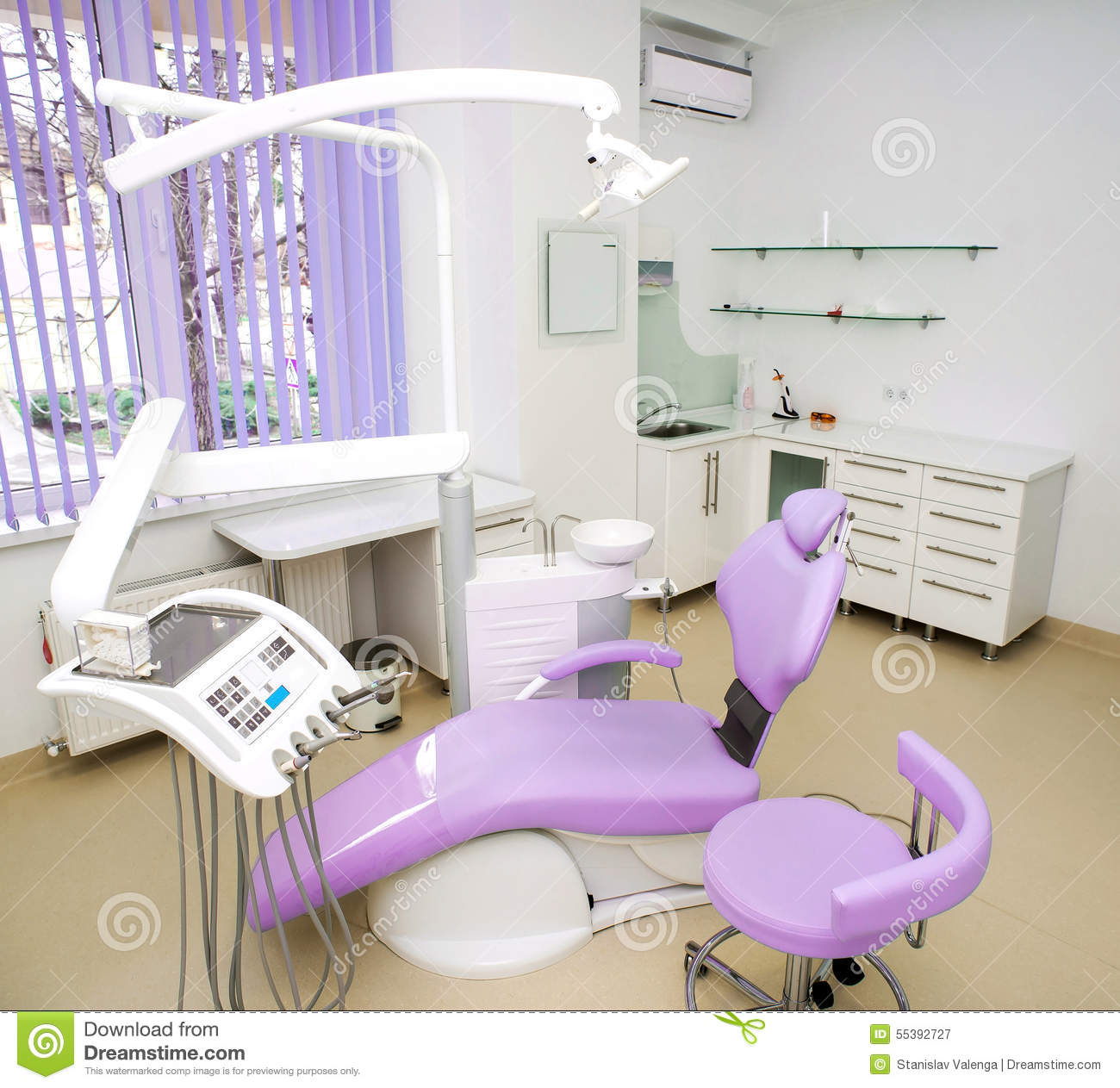 Dental clinic interior design with chair and tools stock for Dental clinic interior designs