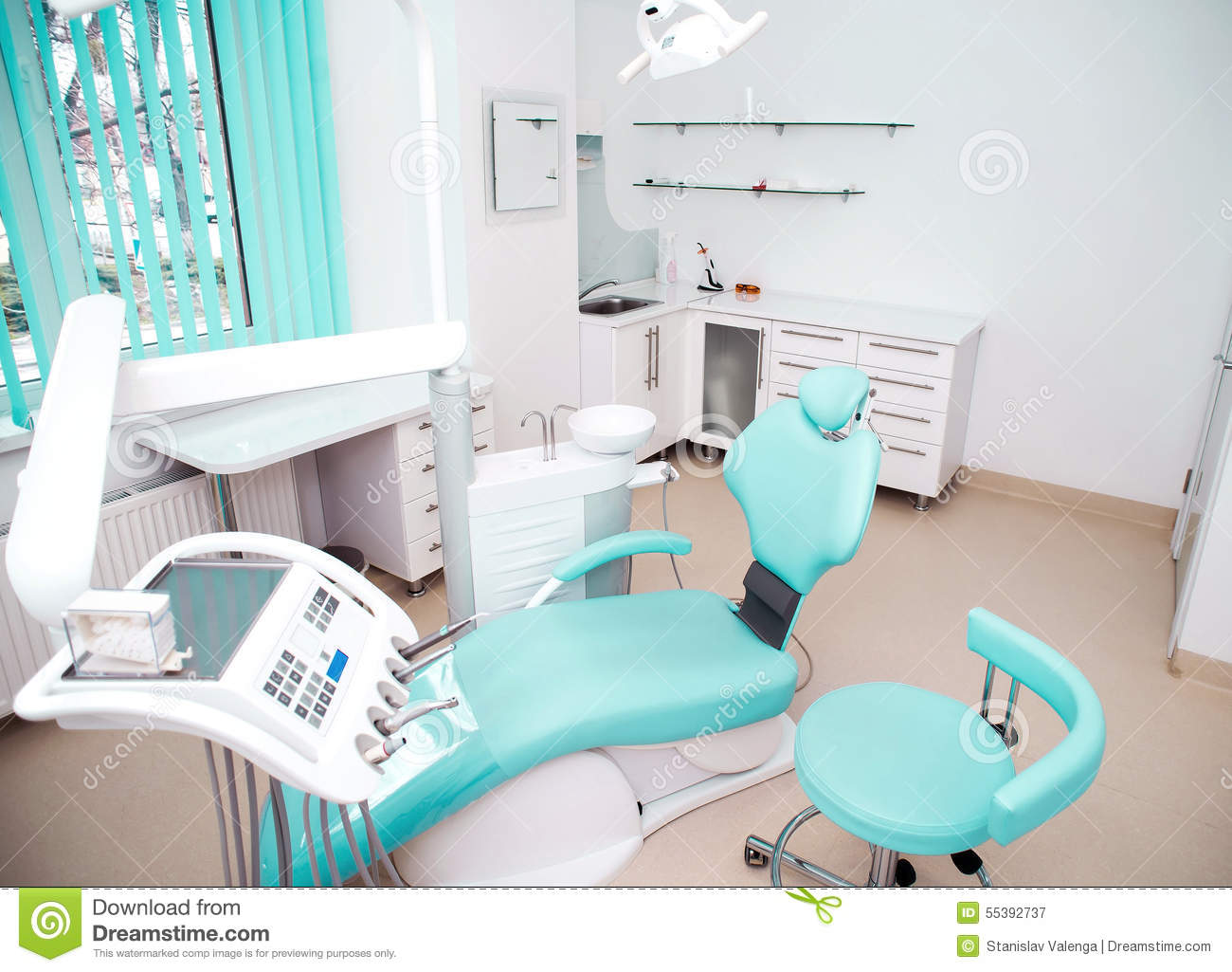 dental clinic interior design with chair and tools stock image