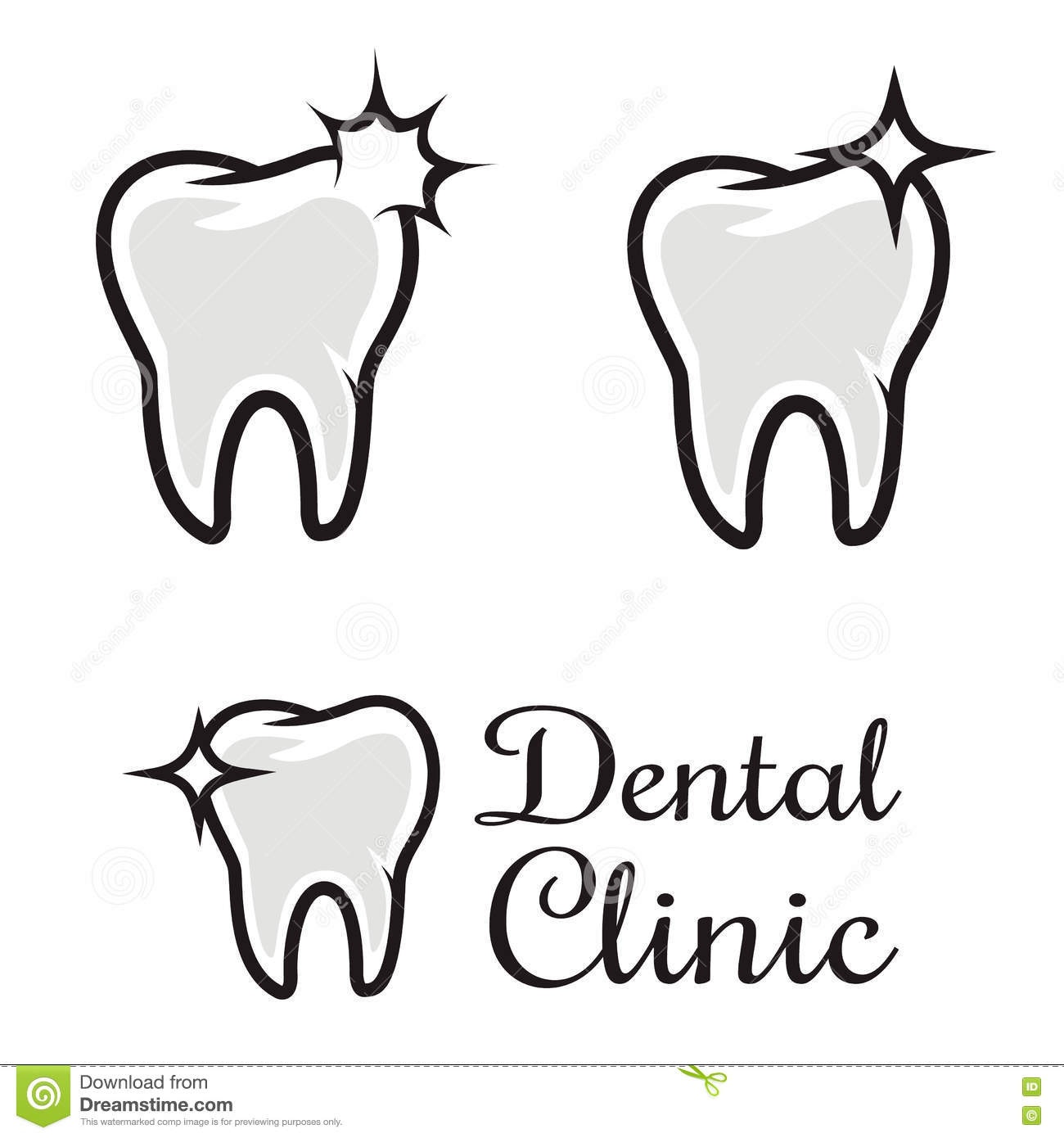Dentist logo design template tooth symbol for dental clinic or mark dental clinic logo template human tooth with flare design elem stock illustration maxwellsz