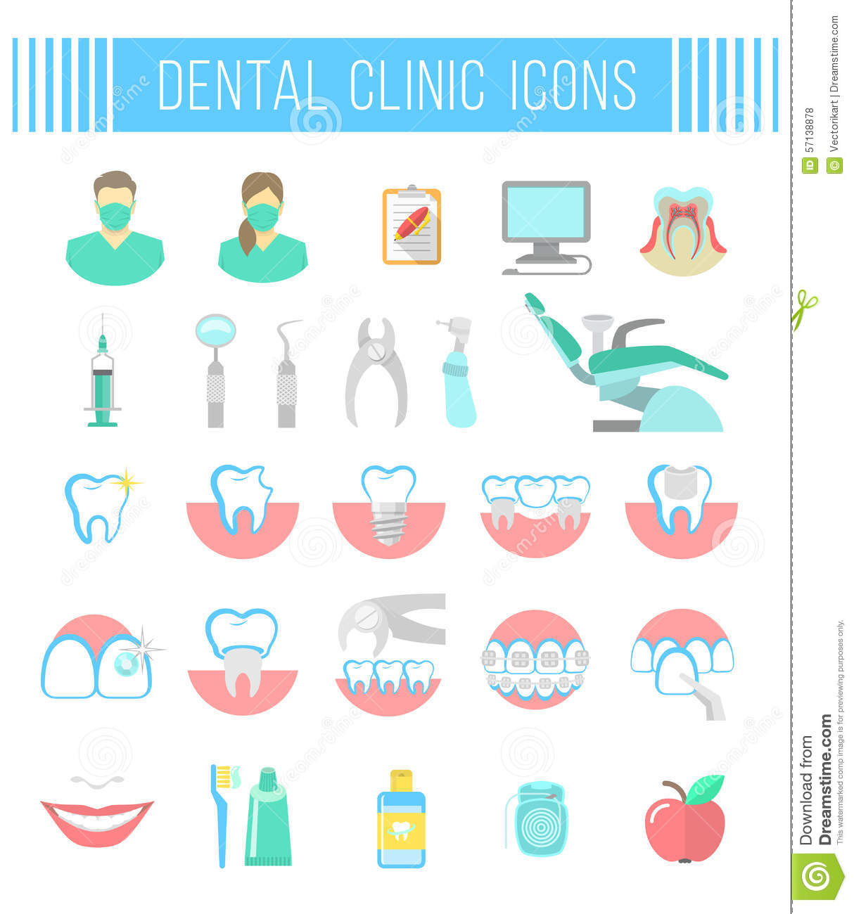 Dental Clinic Services Flat Icons On White Illustration 57138878