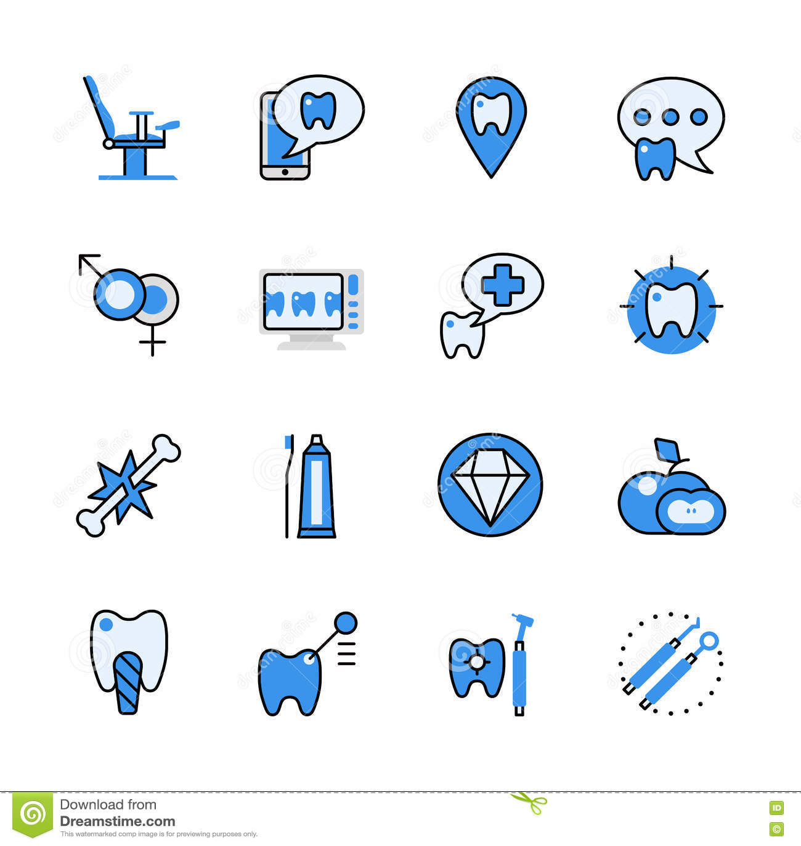 Line Art App : Dental dentist tool lineart flat vector icon set app