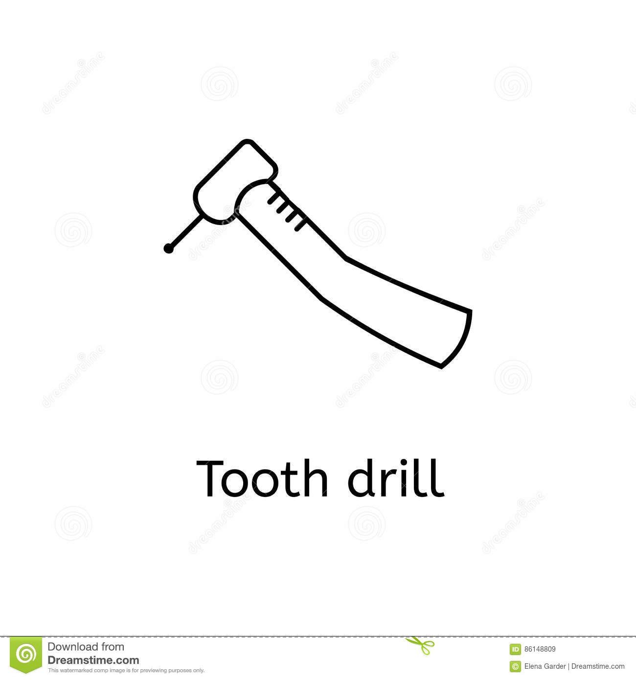 Dental Drill Line Icon For Infographic Website Or App Stock Electrical Drawing Symbols