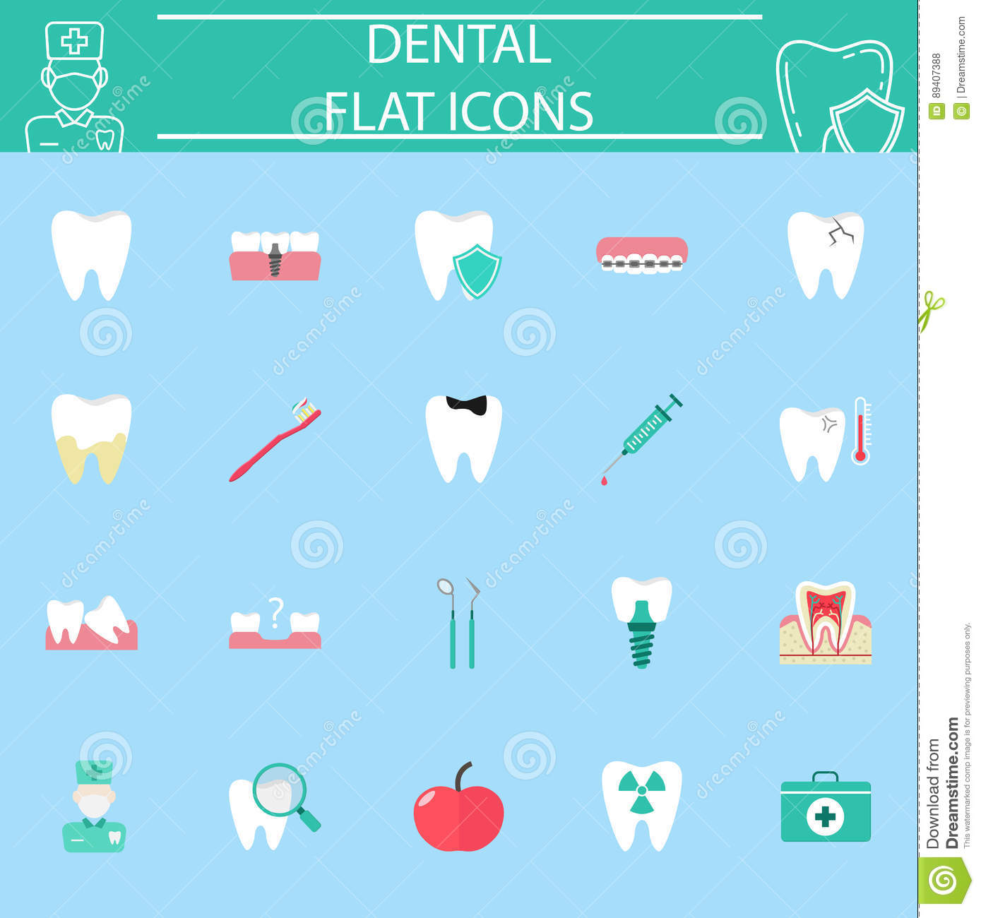 Dental Flat Icon Set Stomatology Symbols Collection Medicine Electrical Symbol Isolated On A White Background Stock Colorful Solid Blue