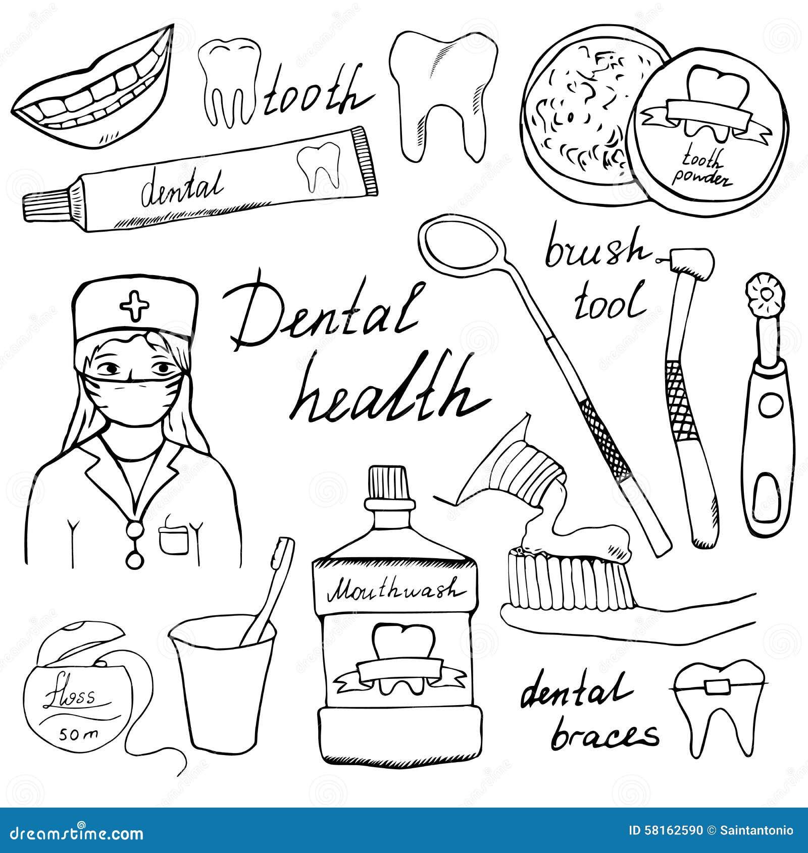 Dental Health Doodles Icons Set Hand Drawn Sketch