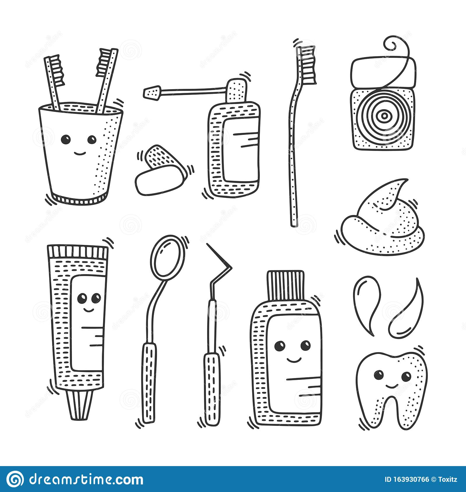 Dental Health Vector Concept In Doodle Style. Hand Drawn