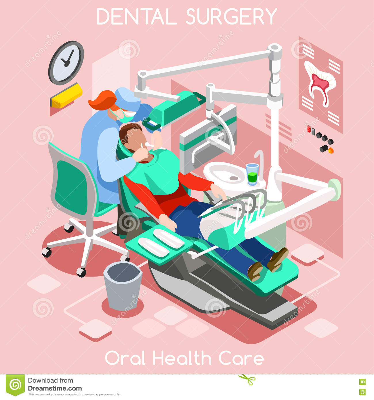 Dental implant teeth hygiene and whitening oral surgery center dentist and patient.
