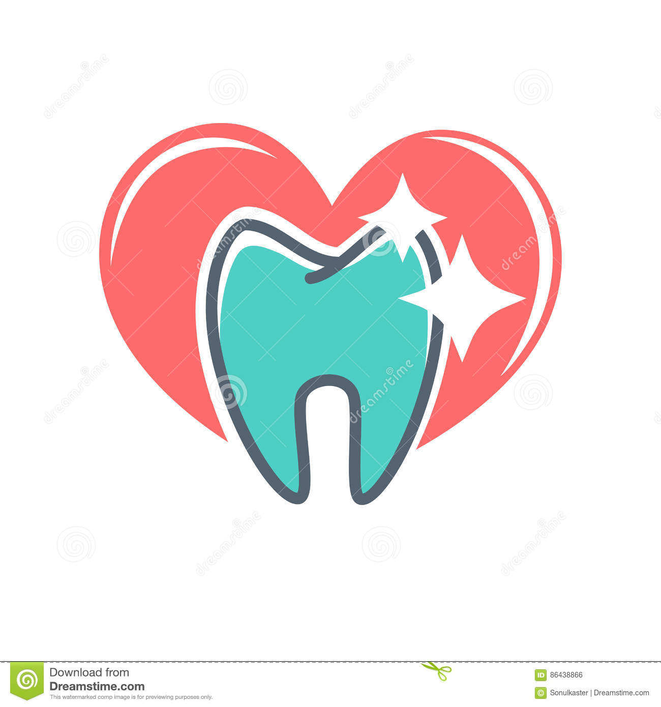 Dental Logo On Background Of Red Heart. Dentistry Icon, Toothpaste ...