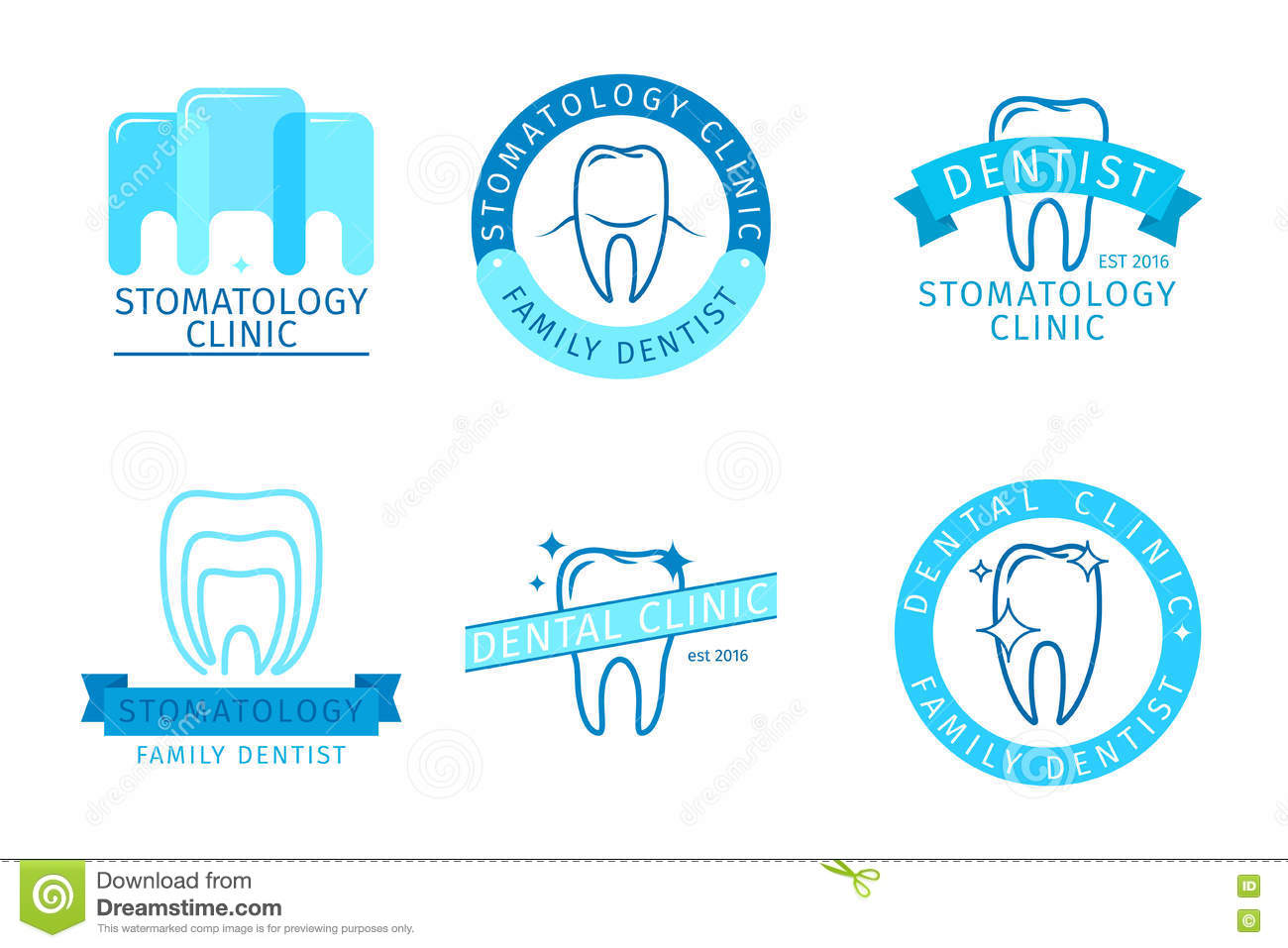 Dental Emblem Set Stock Vector - Image: 48888853
