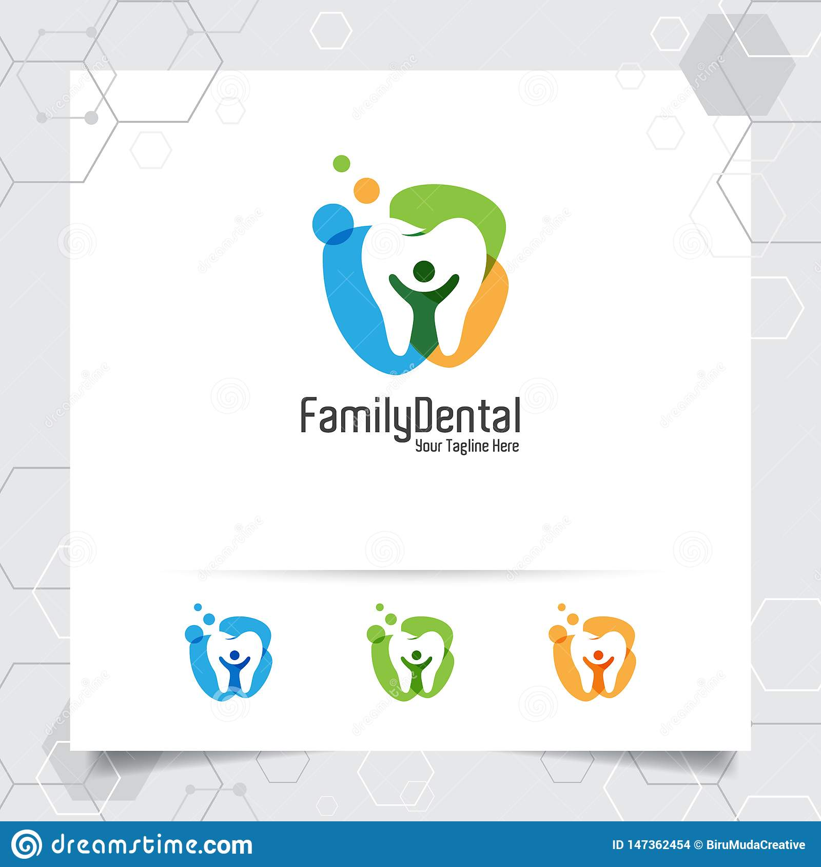 Dental logo vector design with concept of negative space people. Dental care and dentist icon for hospital, doctor and dental