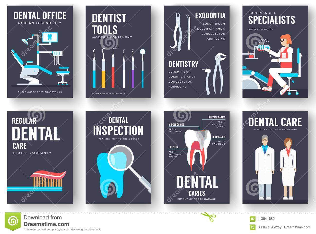 Dental office interior information cards set. Hygiene template of flyear, magazines, posters, book cover, banners