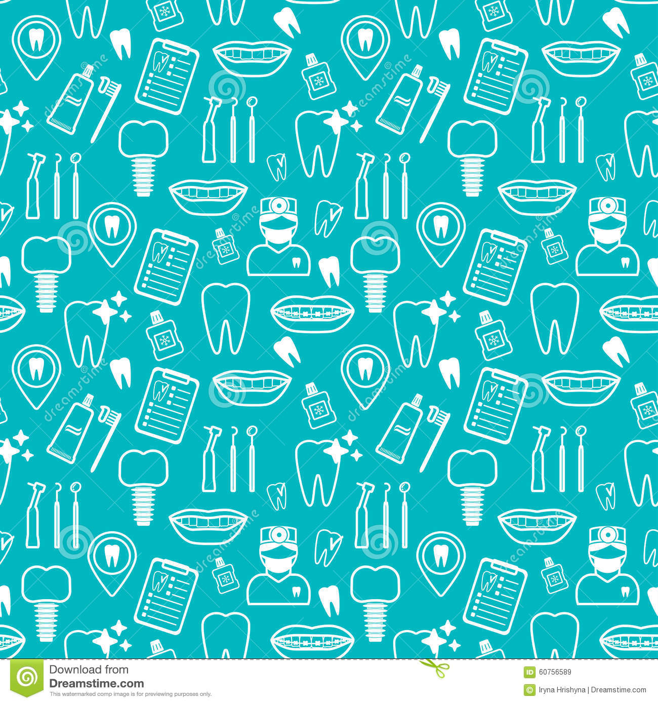 Stock Illustration Dental Seamless Pattern White Linear Icons Blue Backdrop Flat Design Vector Illustration Image60756589 on dental probe design