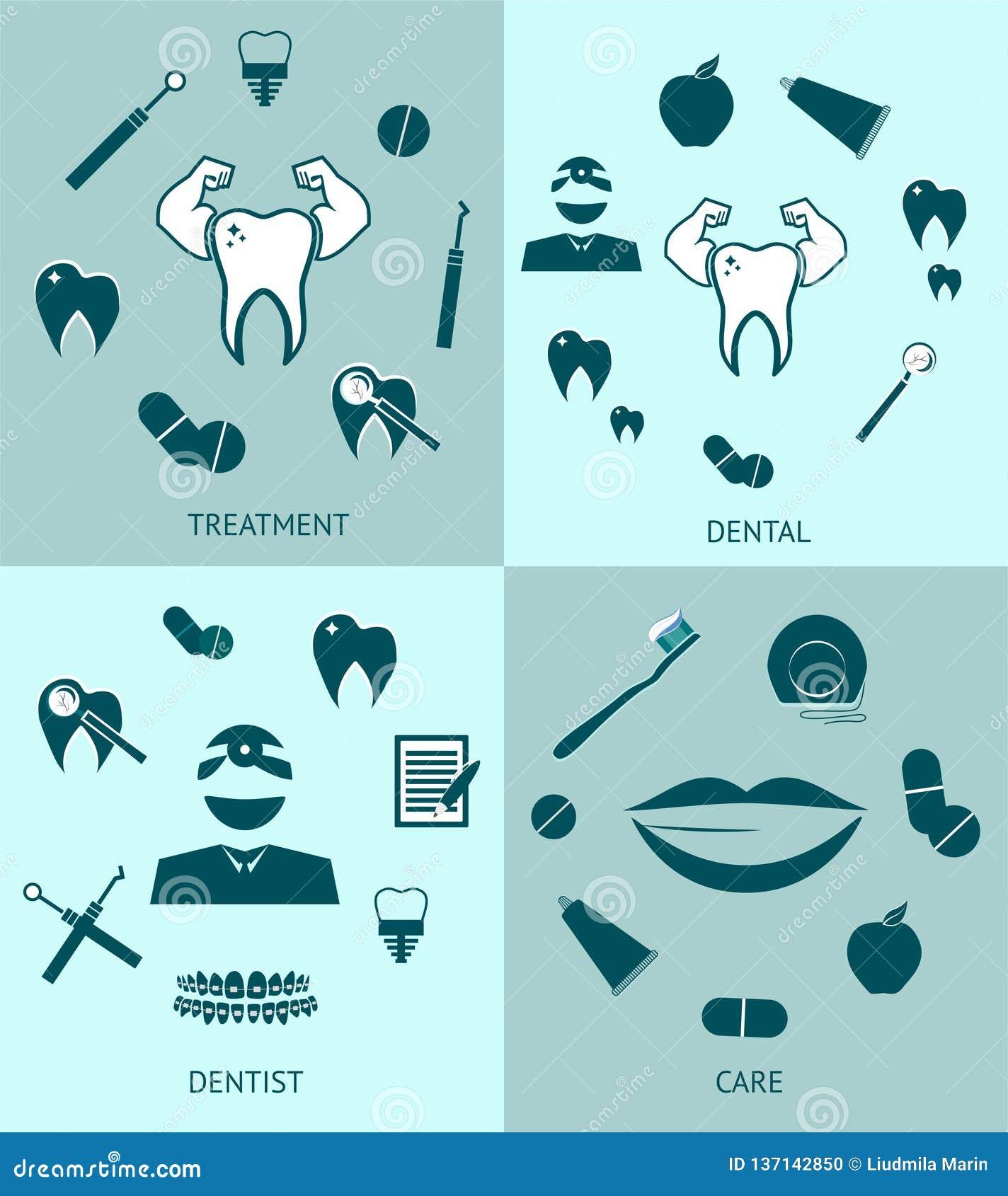 Dental set icons vector template design