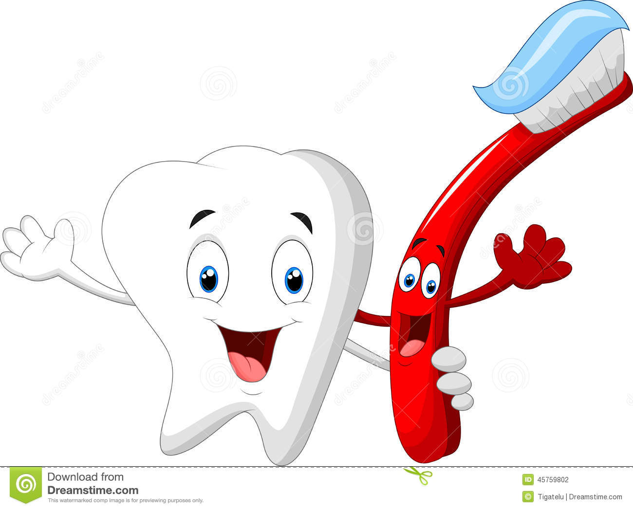 1 Toothed Cartoon Characters : Dental tooth and toothbrush cartoon character stock vector