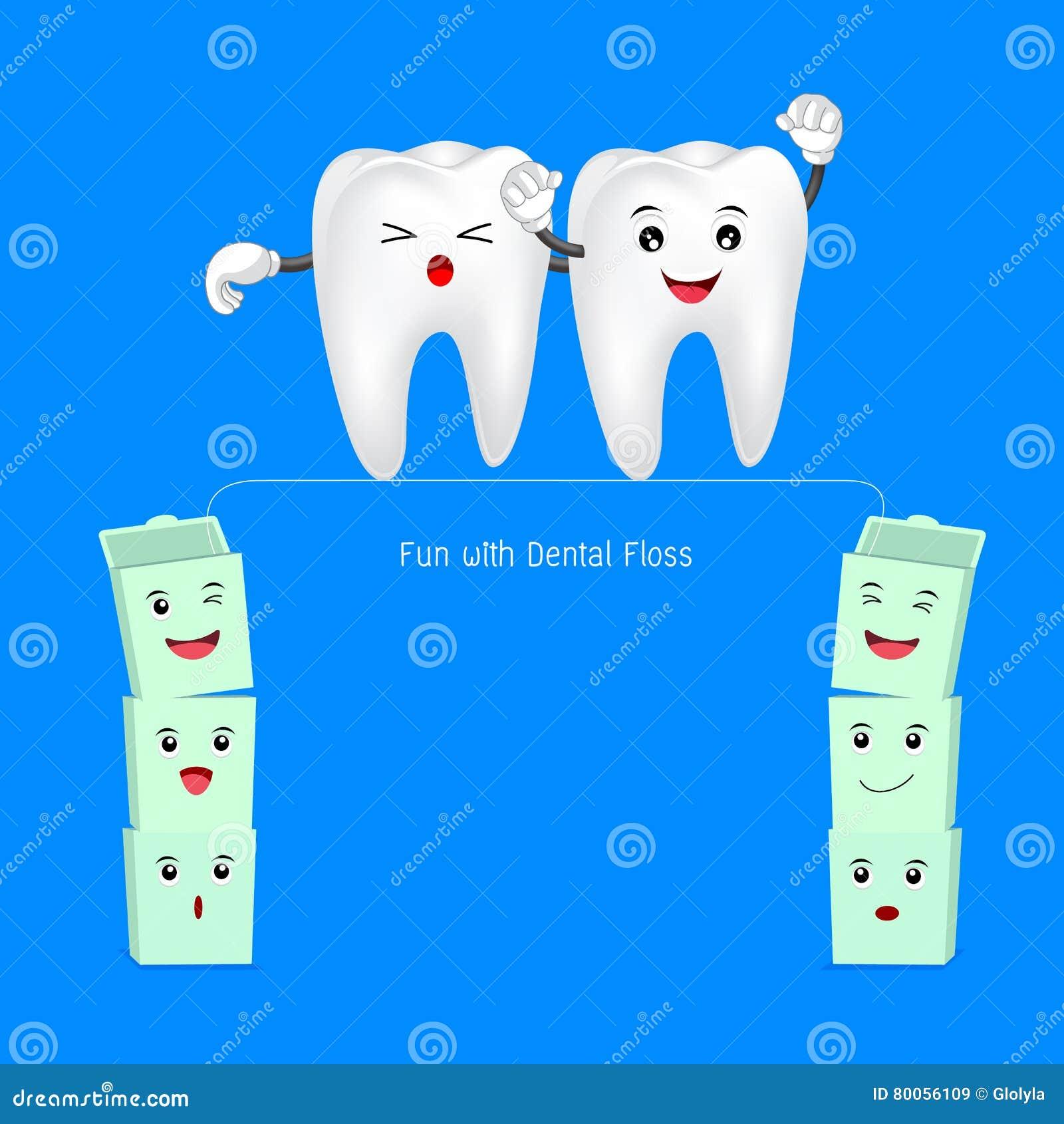 83681491f Dente Bonito Dos Desenhos Animados Que Anda No Fio Dental Ilustração ...