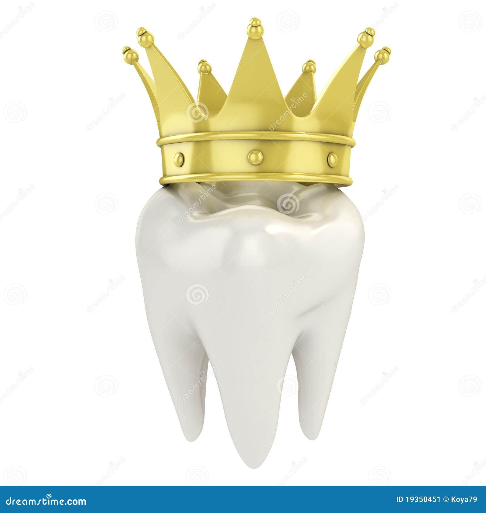 Dente com coroa dourada