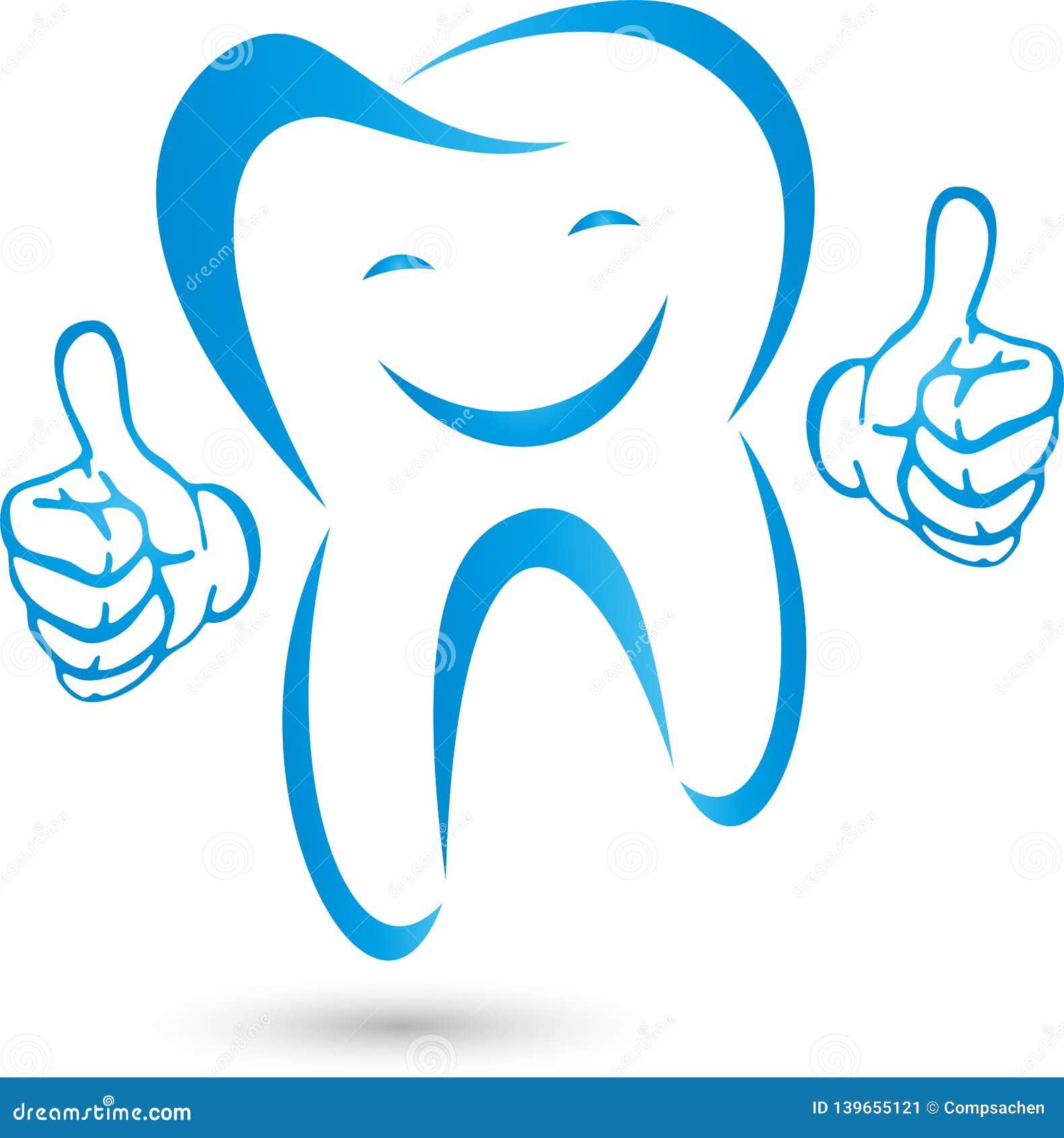 Dente com mãos e sorriso, dente no azul, logotipo da odontologia, dente e logotipo dos cuidados dentários, ícone do dente