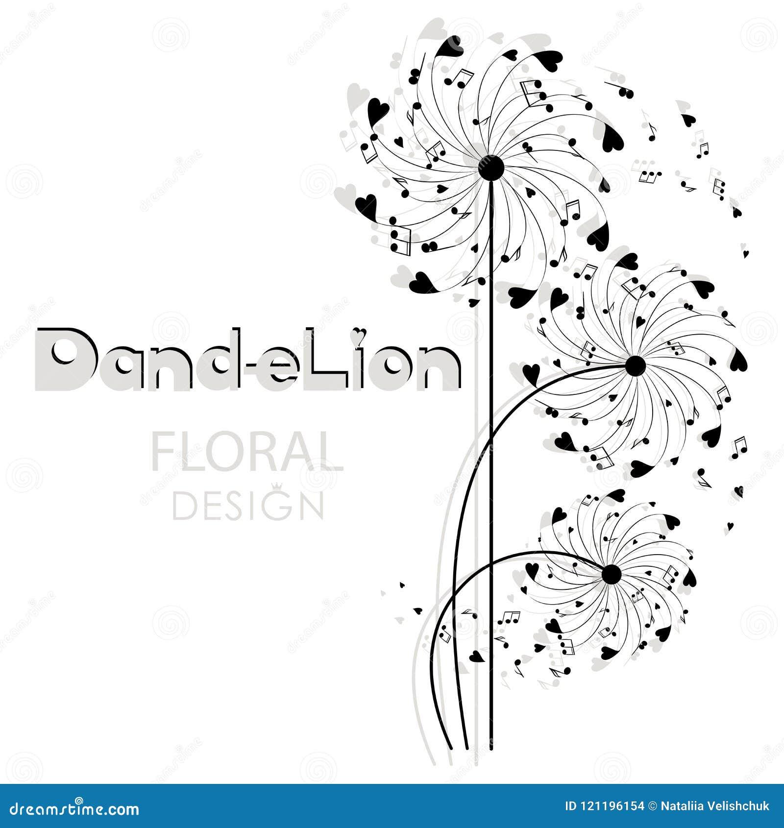 Dente-de-leão musical Fundo floral do projeto?, contexto, projeto da ilustração